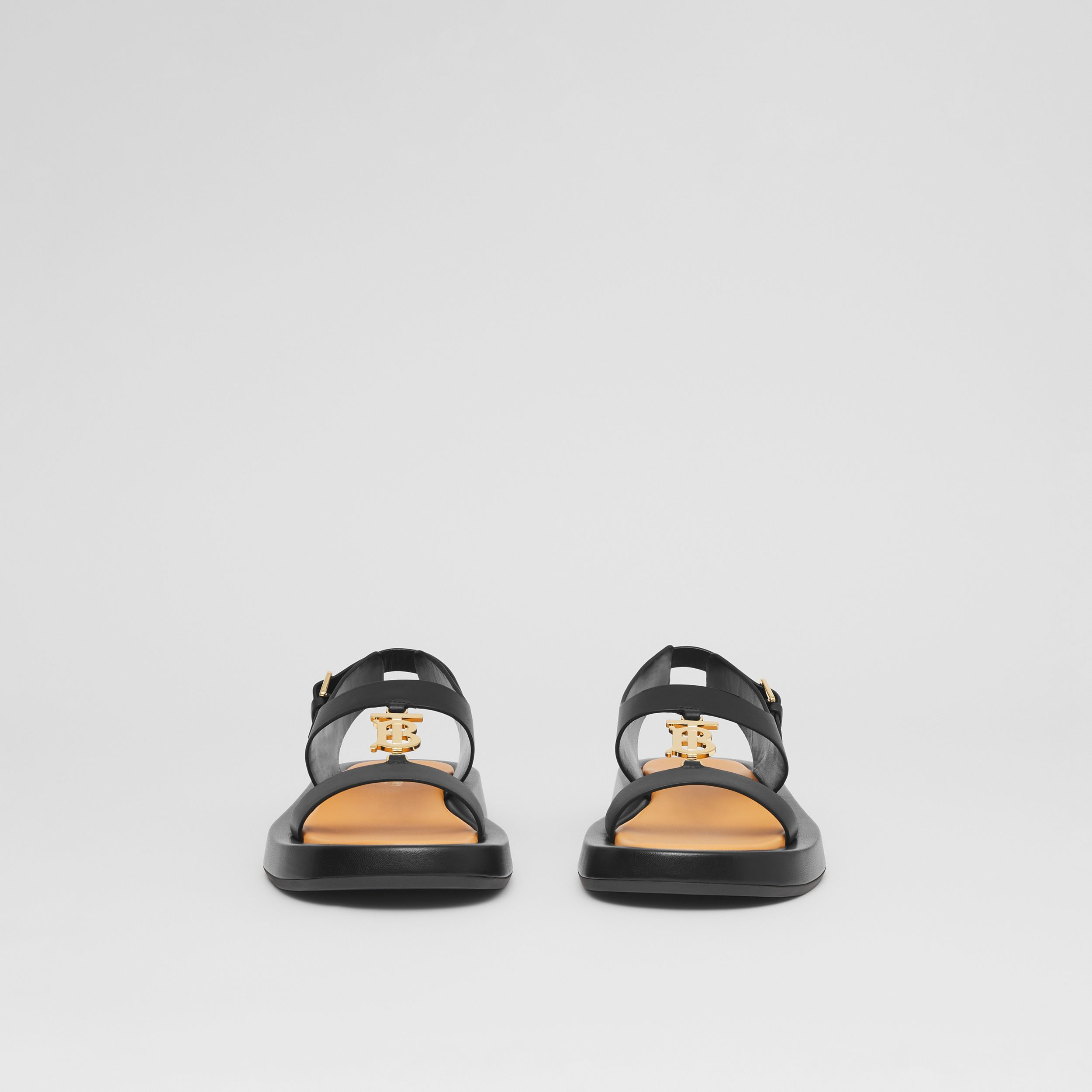 Monogram Motif Leather Sandals in Black - Women | Burberry United States - 3