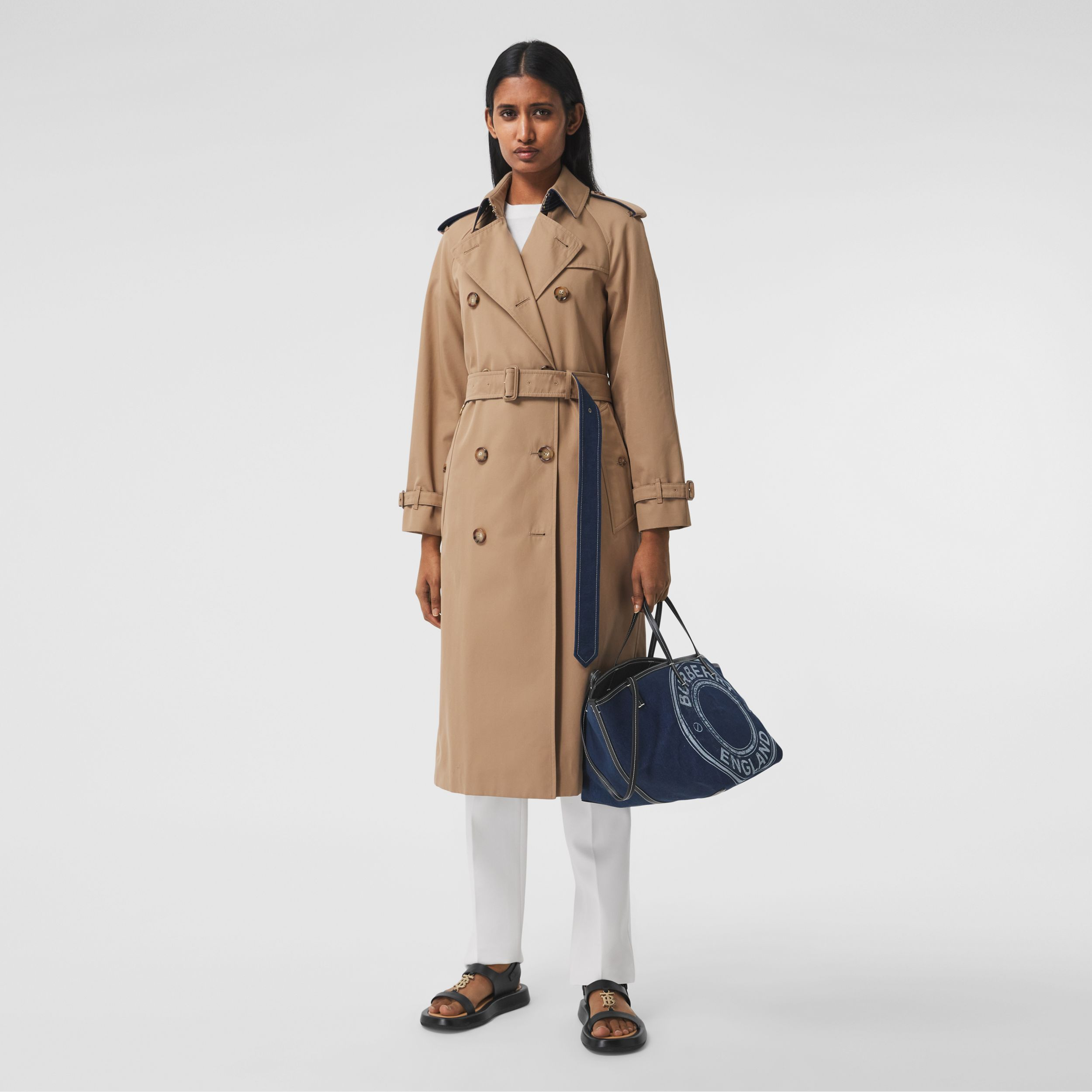 Denim Detail Cotton Gabardine Trench Coat in Camel - Women | Burberry - 1