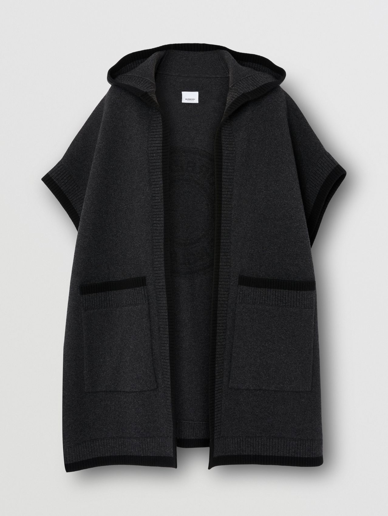 Logo Graphic Wool Cashmere Jacquard Hooded Cape in Charcoal