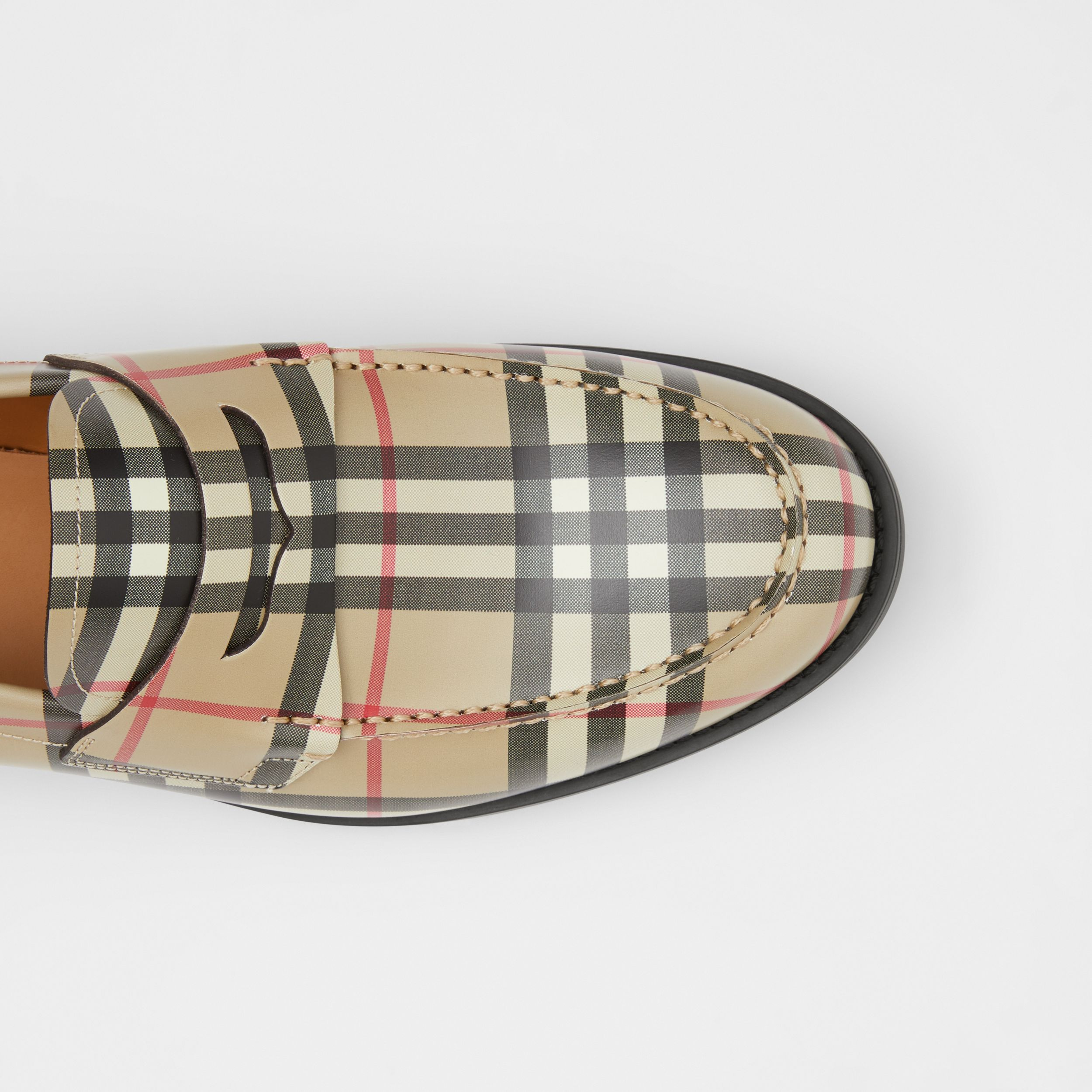 D-ring Detail Vintage Check Leather Loafers in Archive Beige - Men | Burberry - 2