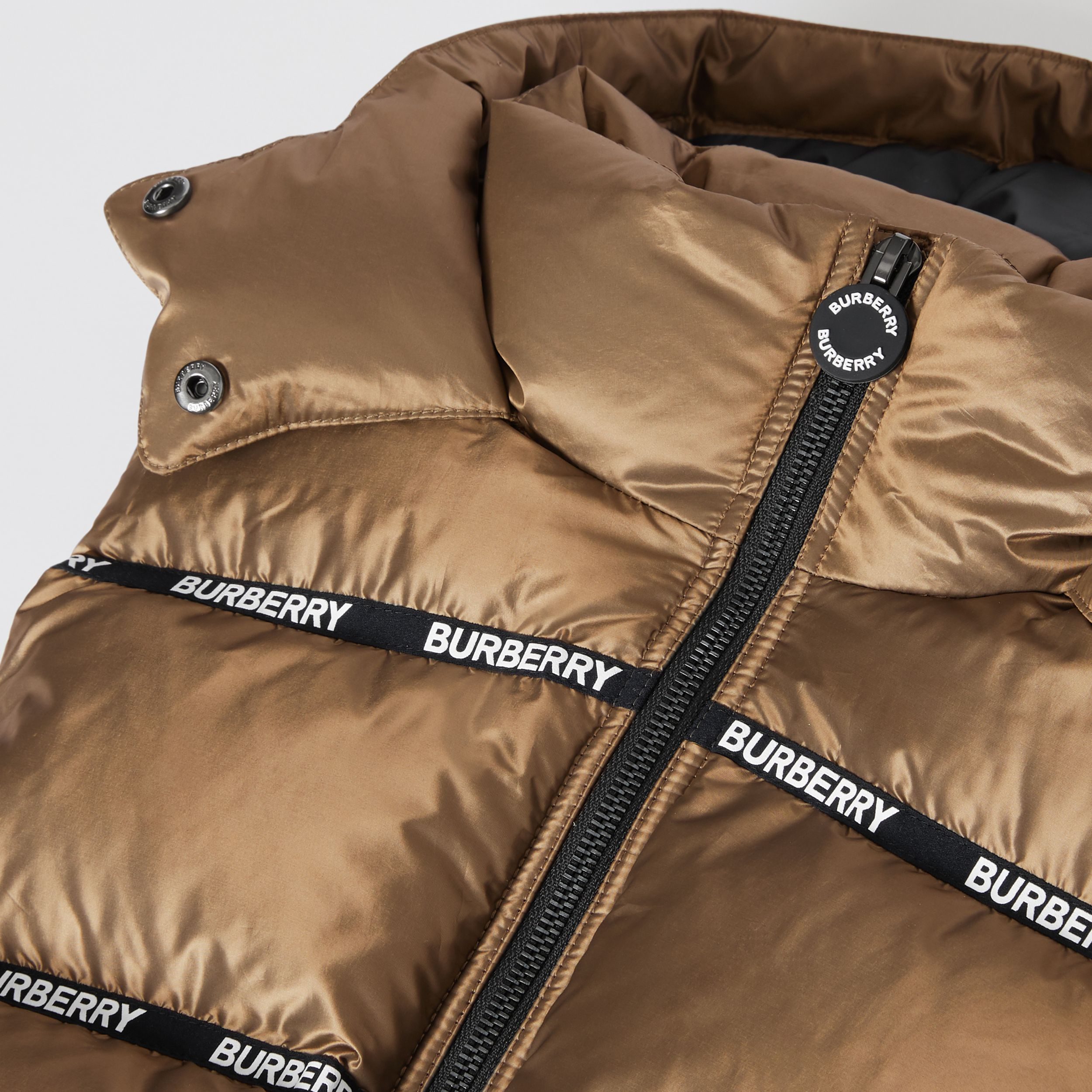 Logo Tape Hooded Puffer Gilet in Smoke | Burberry - 2