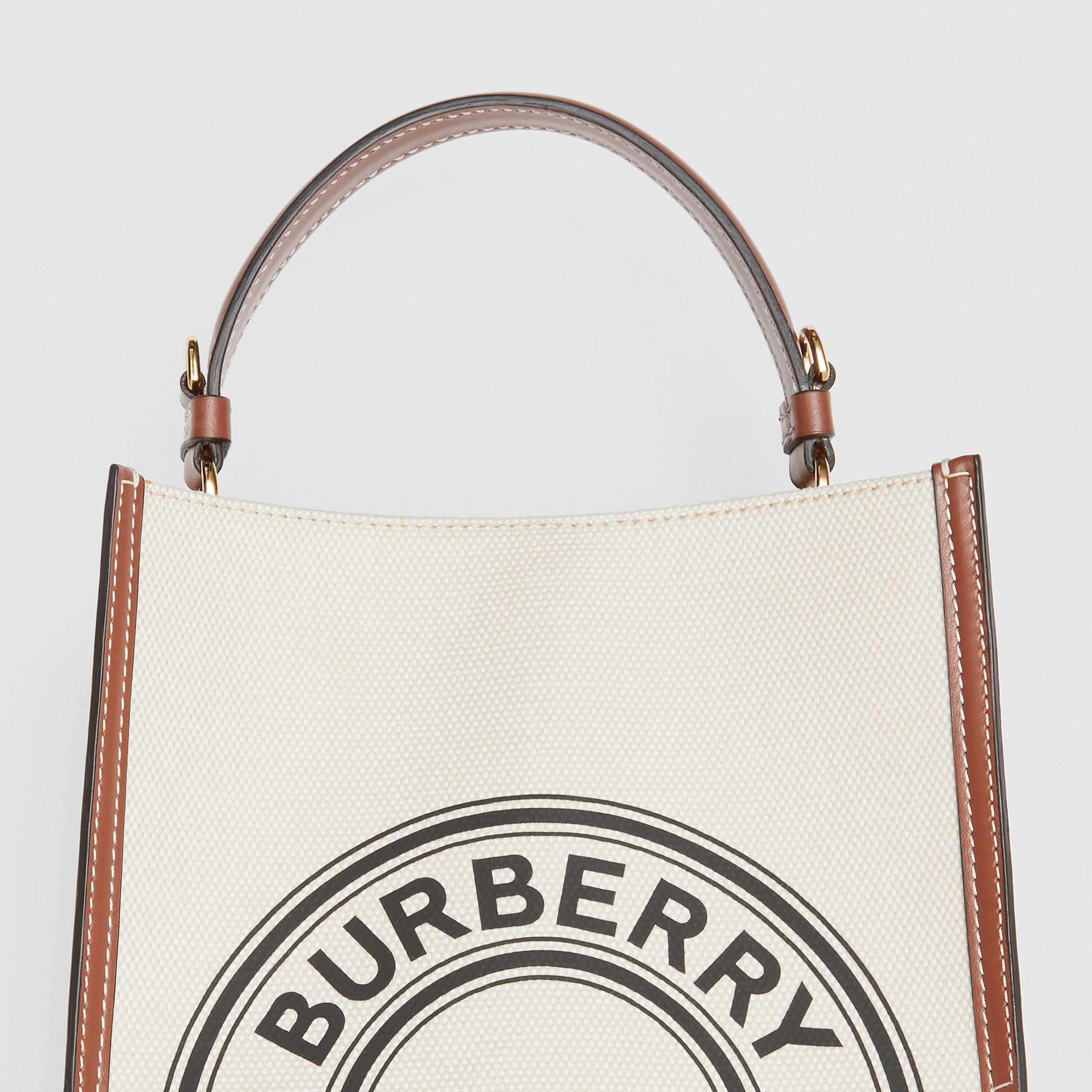 Small Logo Graphic Cotton Canvas Peggy Bucket Bag in Natural - Women | Burberry - 2