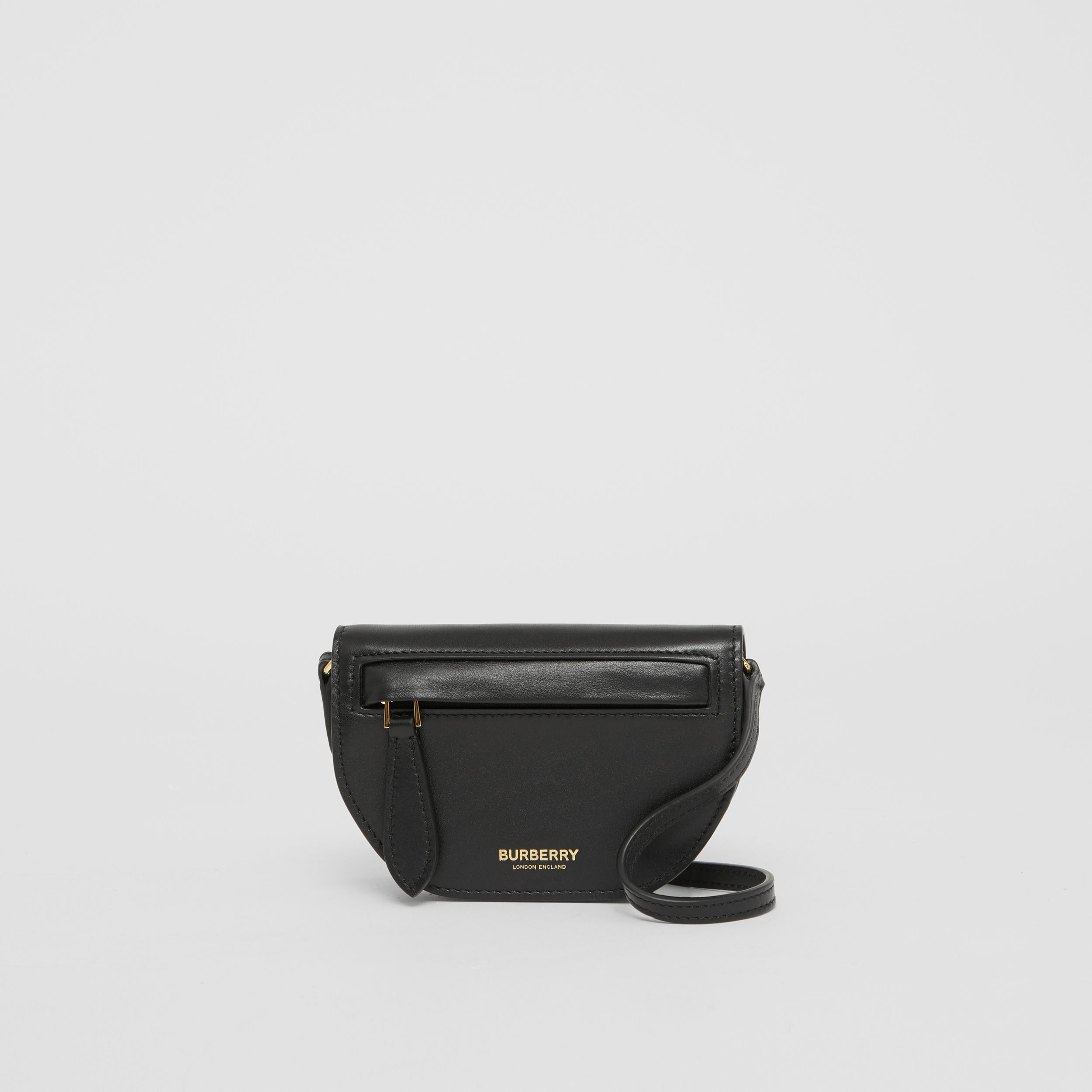 Leather Olympia Card Case with Detachable Strap in Black | Burberry - 1