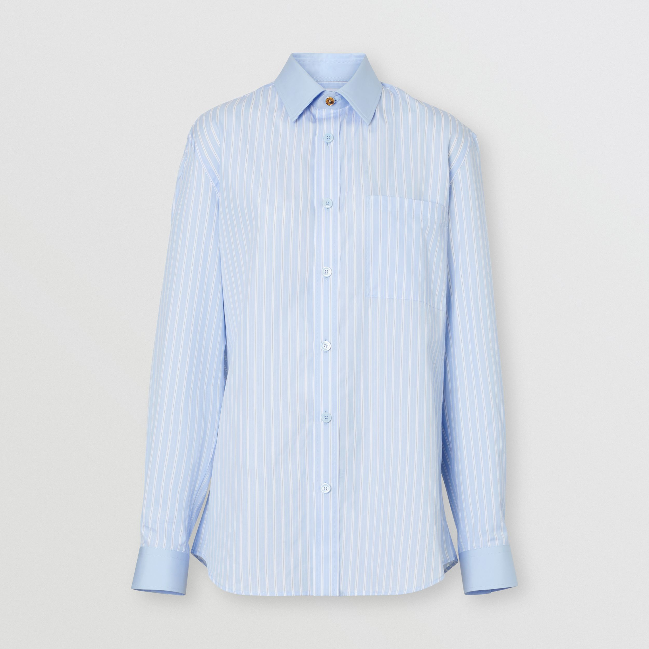 Striped Cotton Oversized Shirt in Pale Blue - Women | Burberry United Kingdom - 4