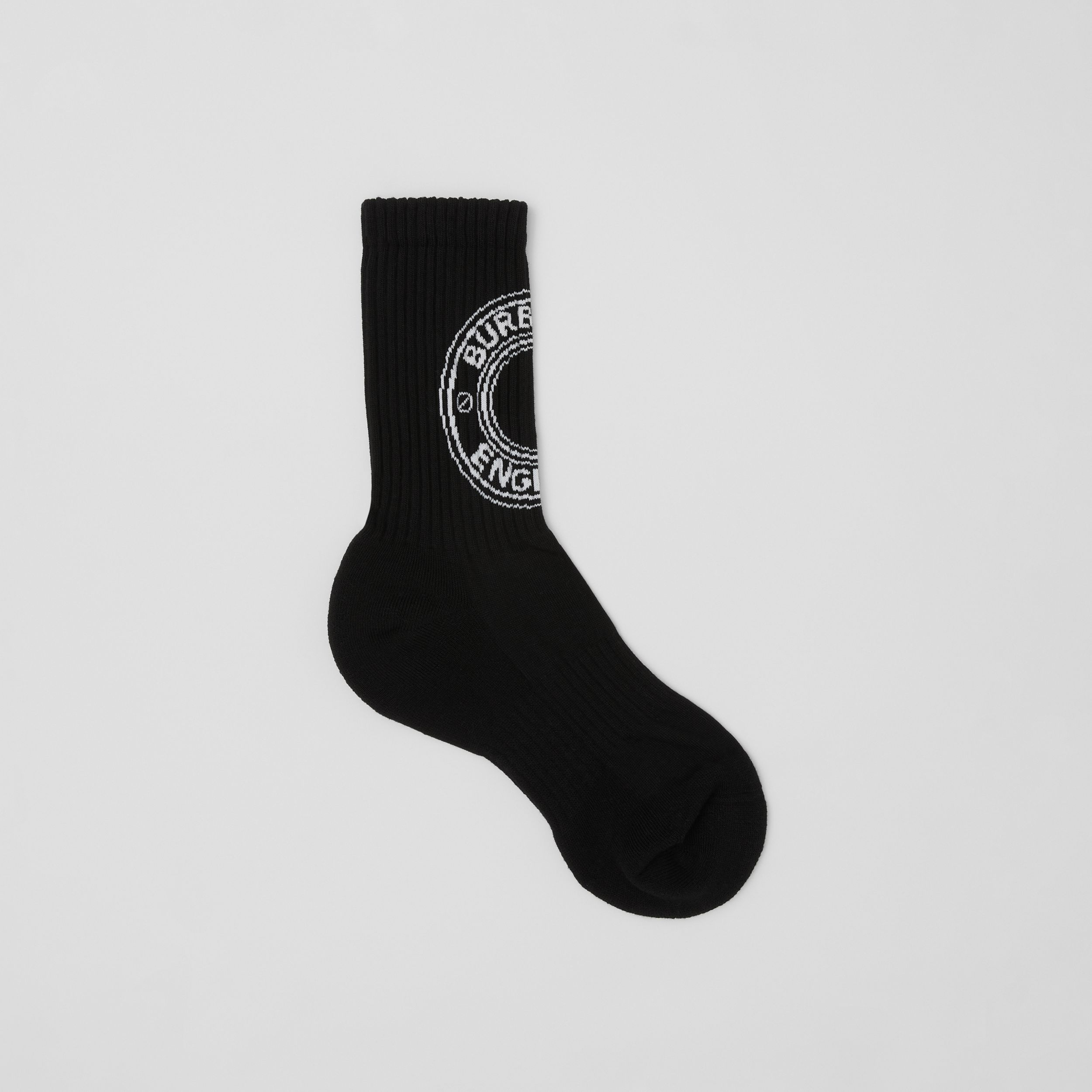 Logo Graphic Intarsia Technical Stretch Cotton Socks in Black | Burberry - 1
