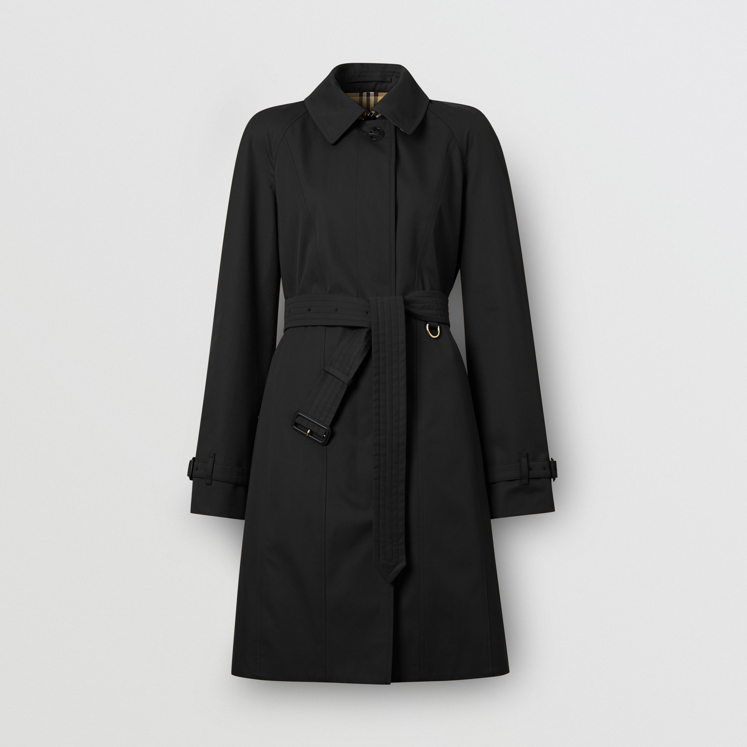 Cotton Gabardine Belted Swing Coat in Black - Women | Burberry United States - 4