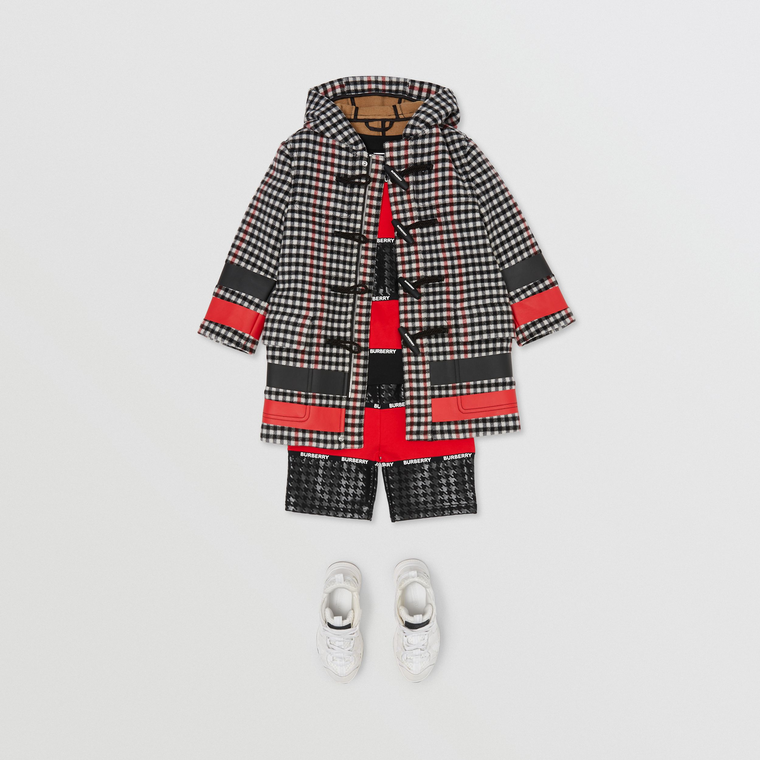 Stripe Print Check Wool Duffle Coat in Black | Burberry - 4