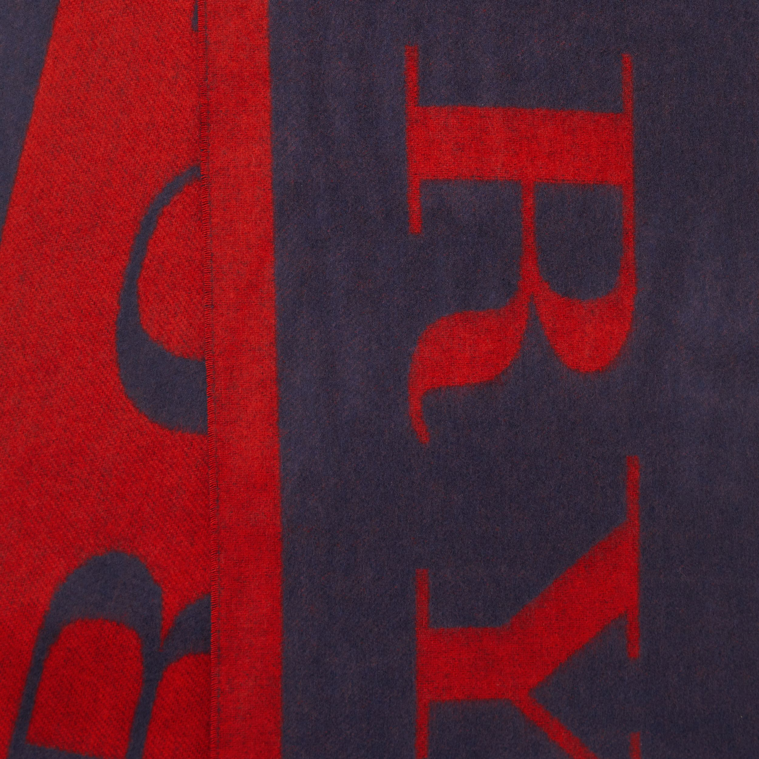Logo Cashmere Wool Jacquard Scarf in Red/navy | Burberry - 2