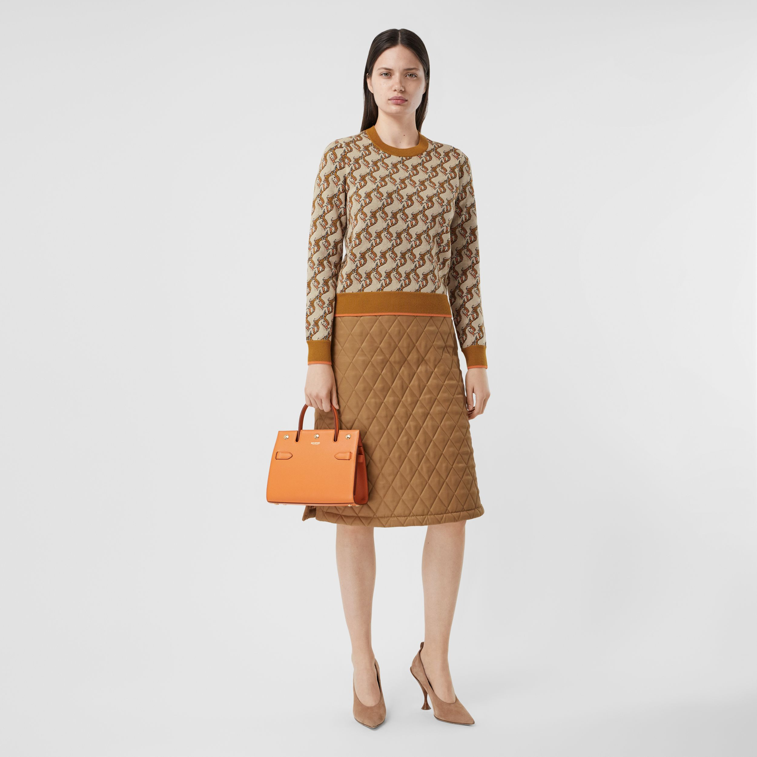 Unicorn Merino Wool Blend Jacquard Sweater in Ecru - Women | Burberry - 1