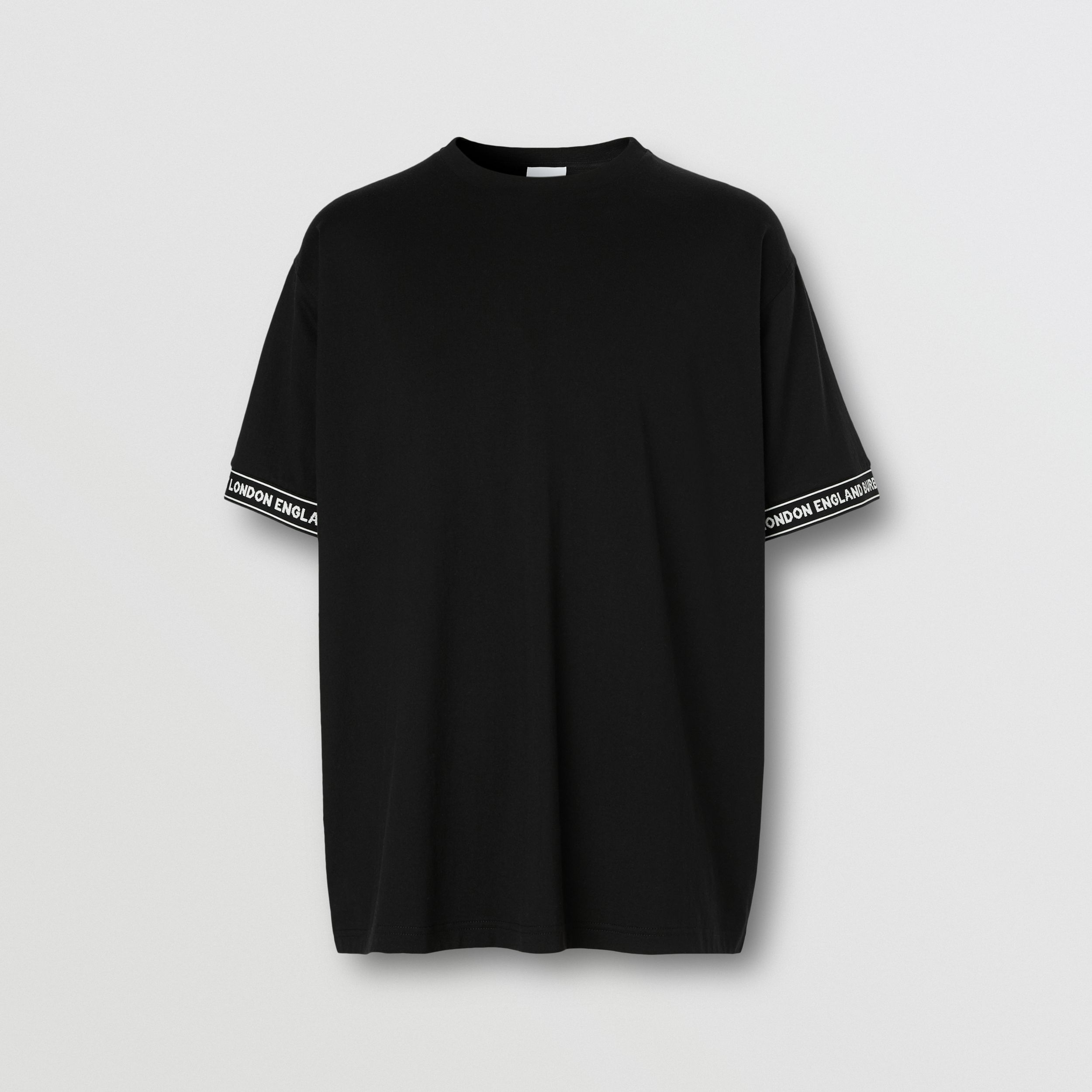 Logo Tape Cotton Oversized T-shirt - Men | Burberry - 4