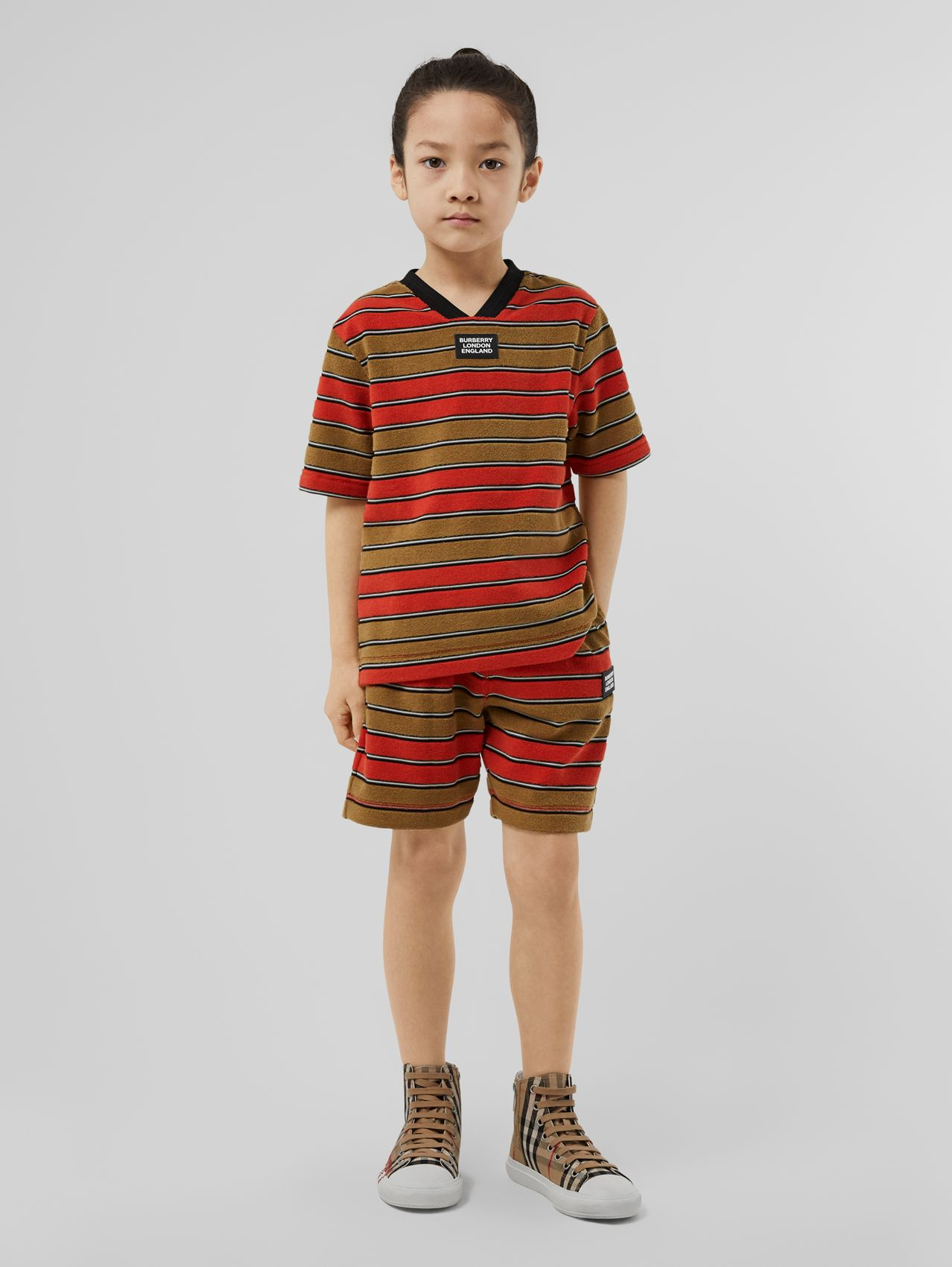 Logo Appliqué Striped Towelling T-shirt in Vermilion Red