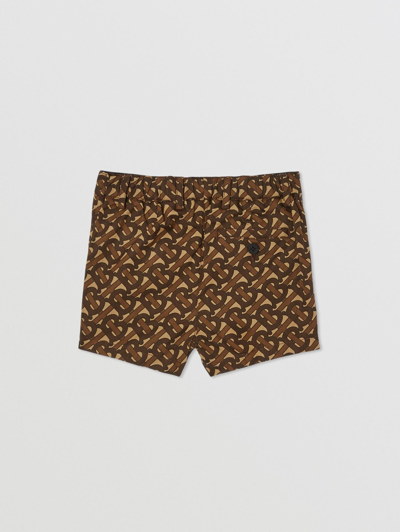 Monogram Print Cotton Tailored Shorts in Bridle Brown