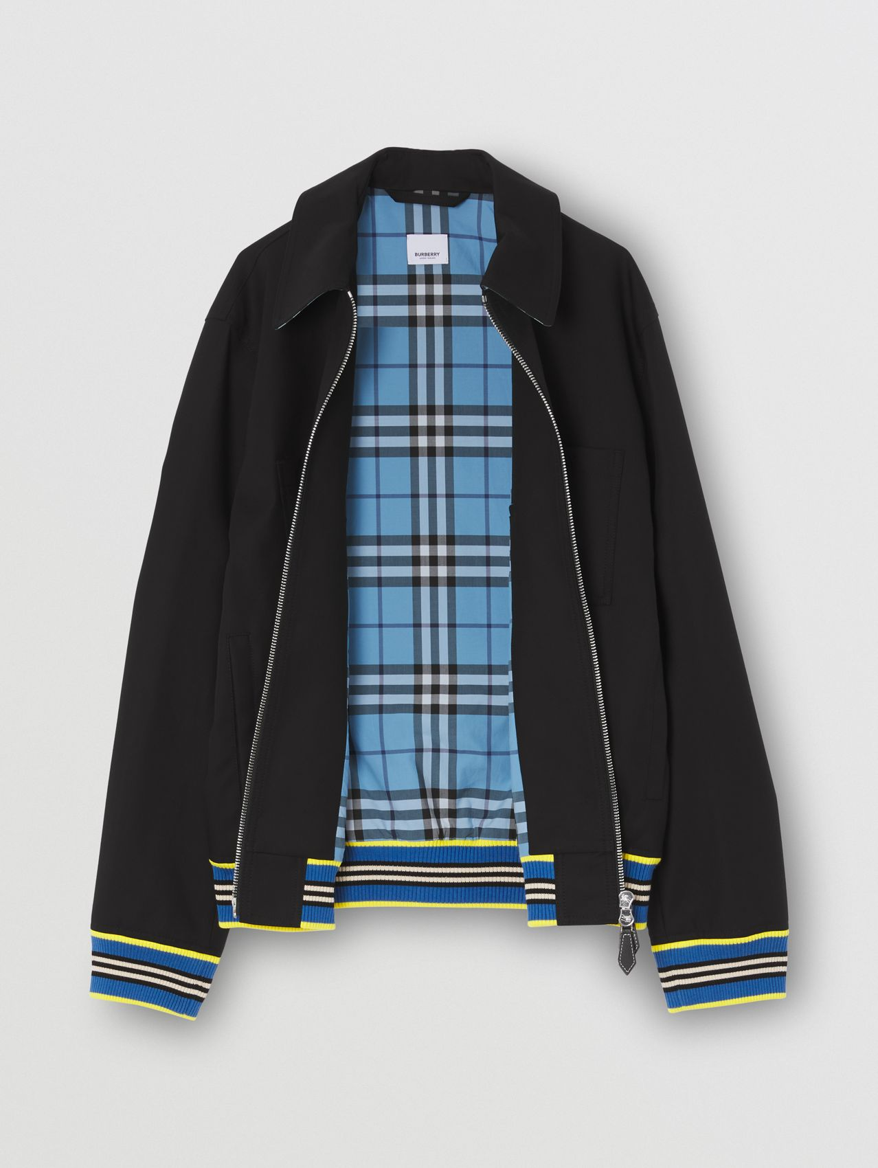 Icon Stripe Trim Harrington Jacket in Black
