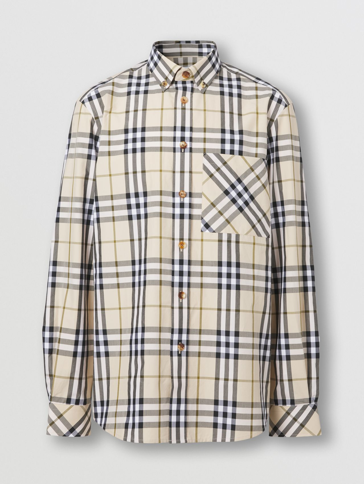 Check Cotton Poplin Shirt in Soft Fawn