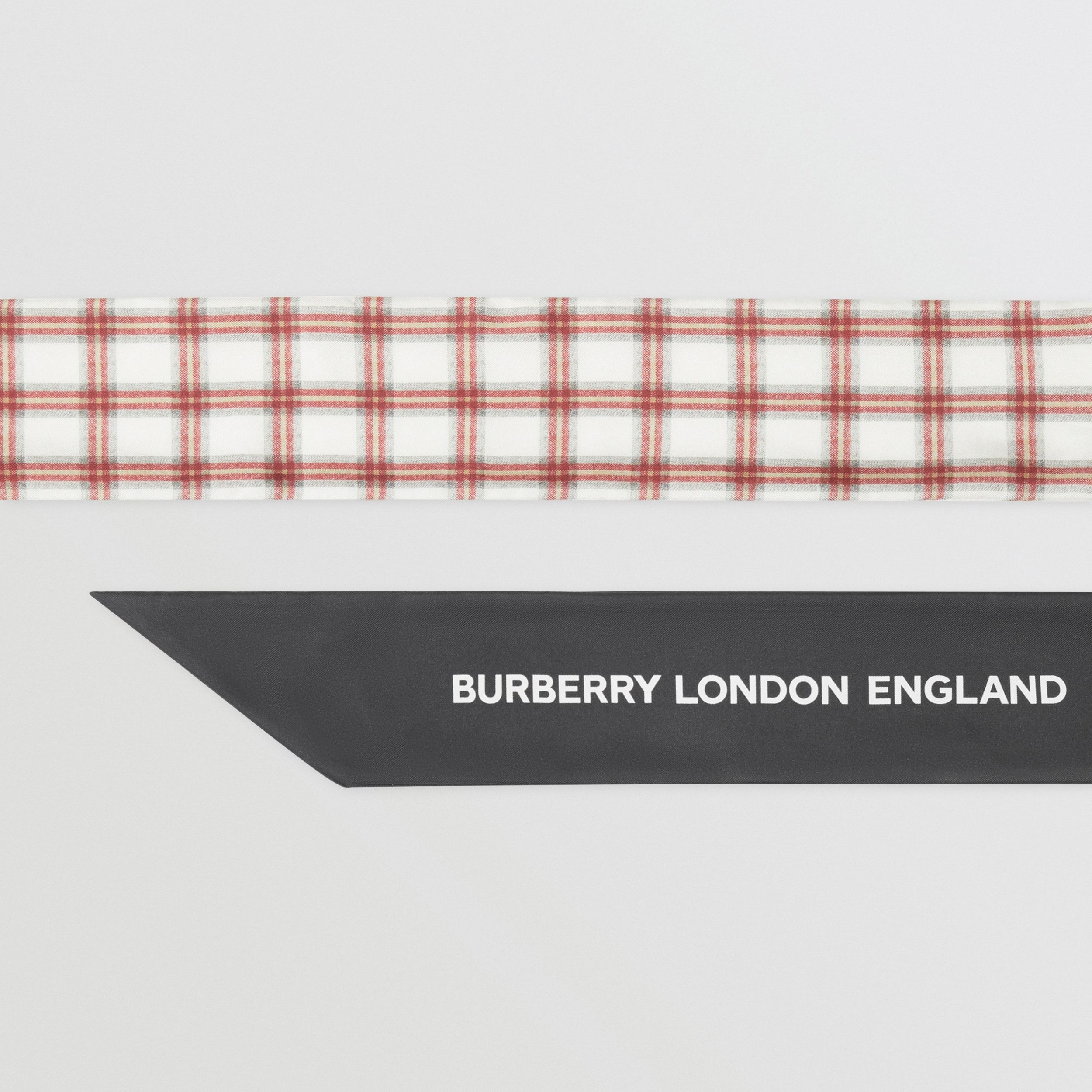 Check and Logo Print Silk Skinny Scarf in Grey Charcoal | Burberry Hong Kong S.A.R. - 2