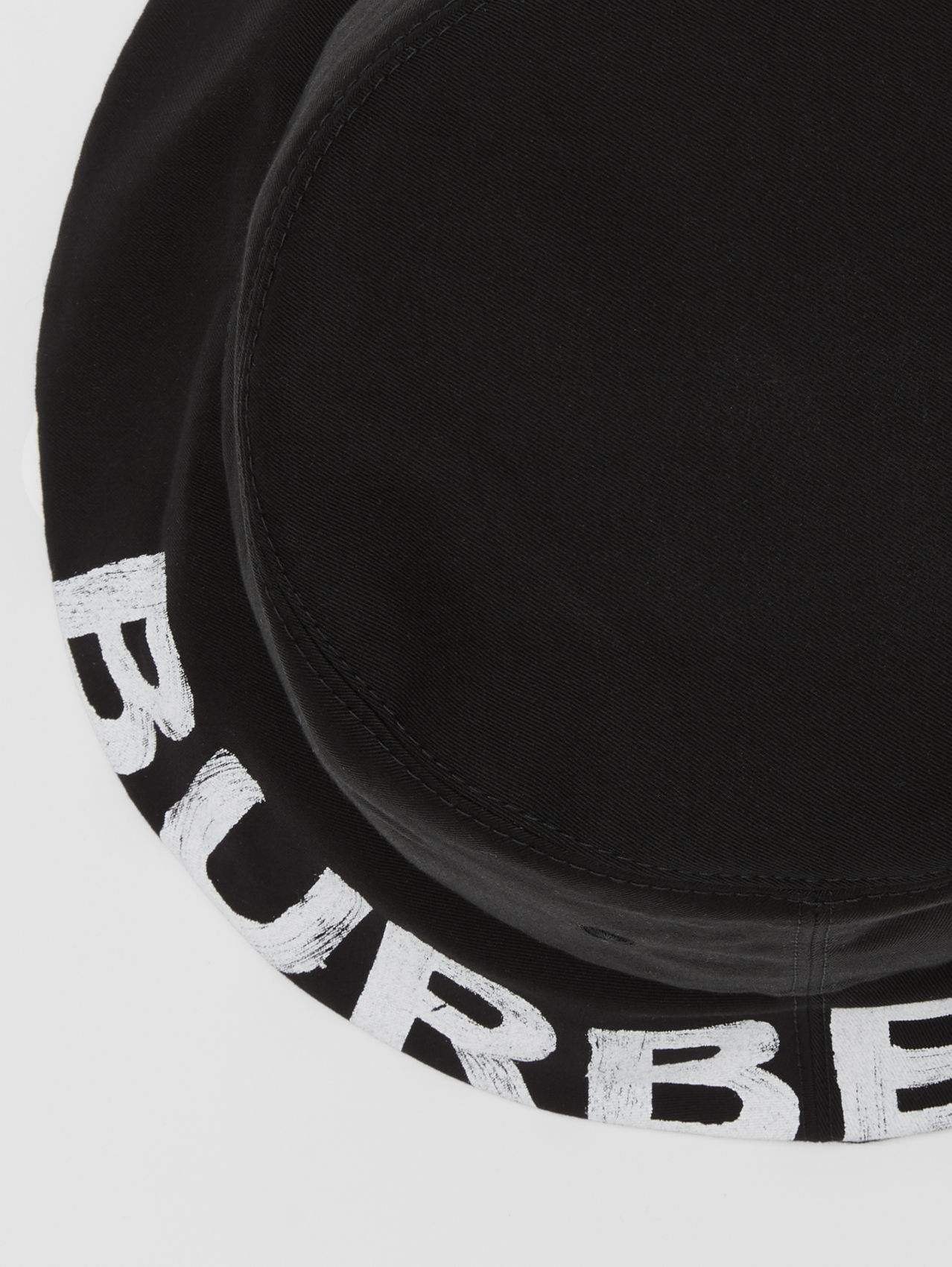Reversible Logo Print Cotton Gabardine Bucket Hat in Black