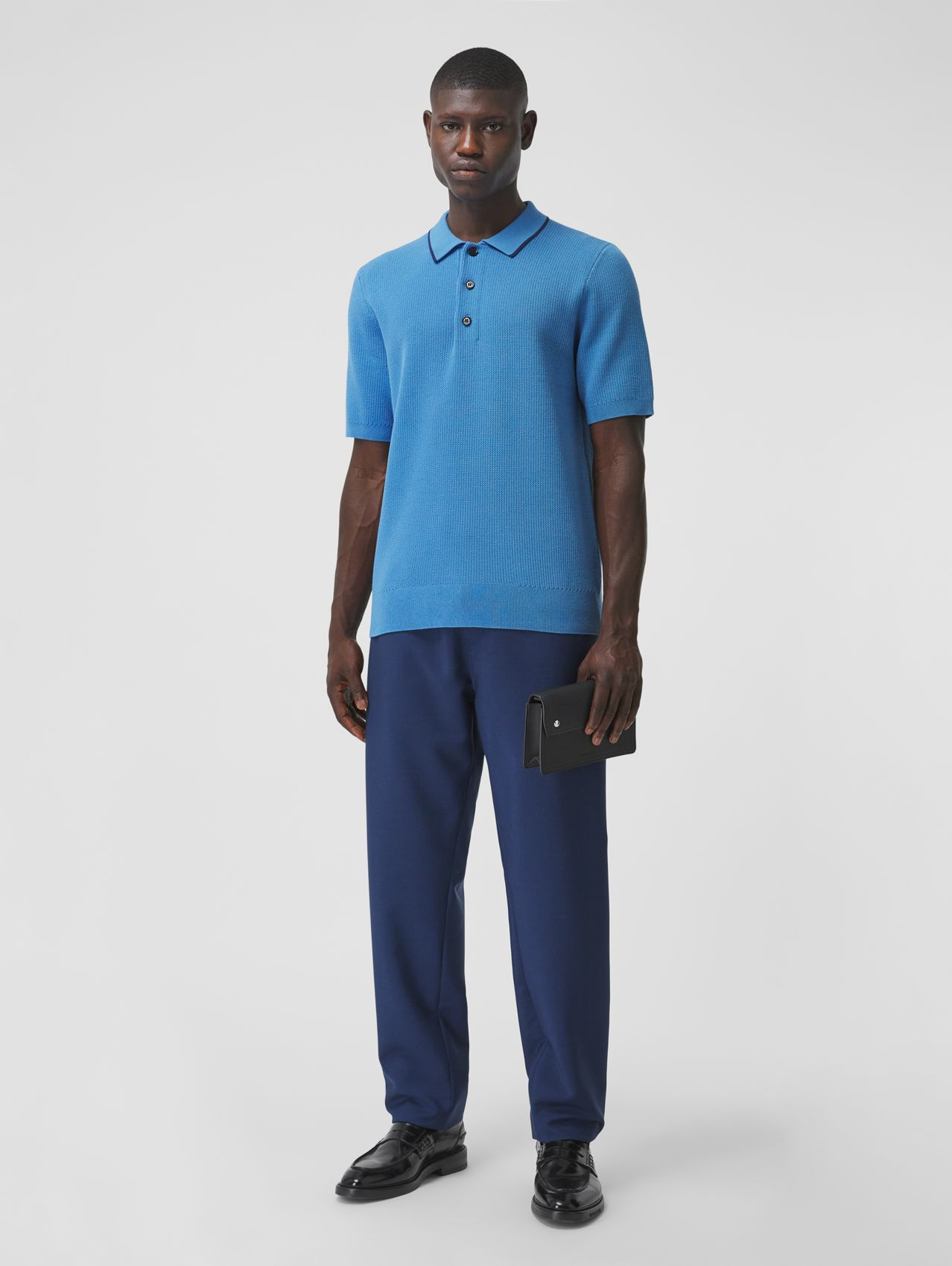 Technical Silk Cotton Piqué Polo Shirt in Warm Royal Blue