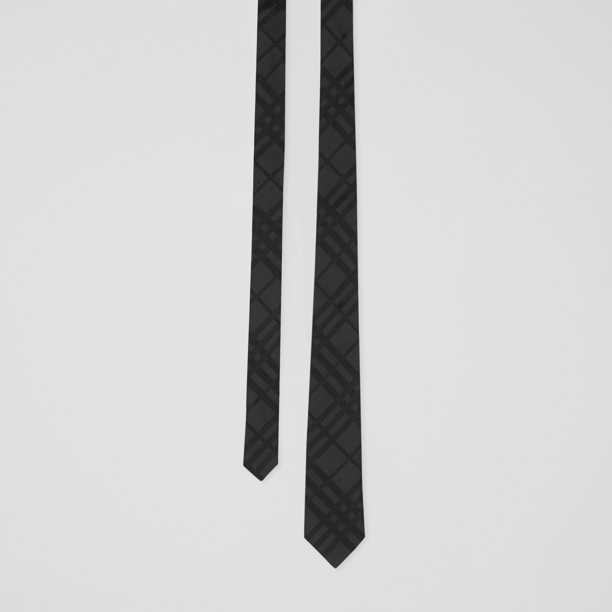 Classic Cut Check Silk Jacquard Tie in Black - Men | Burberry Australia - 1