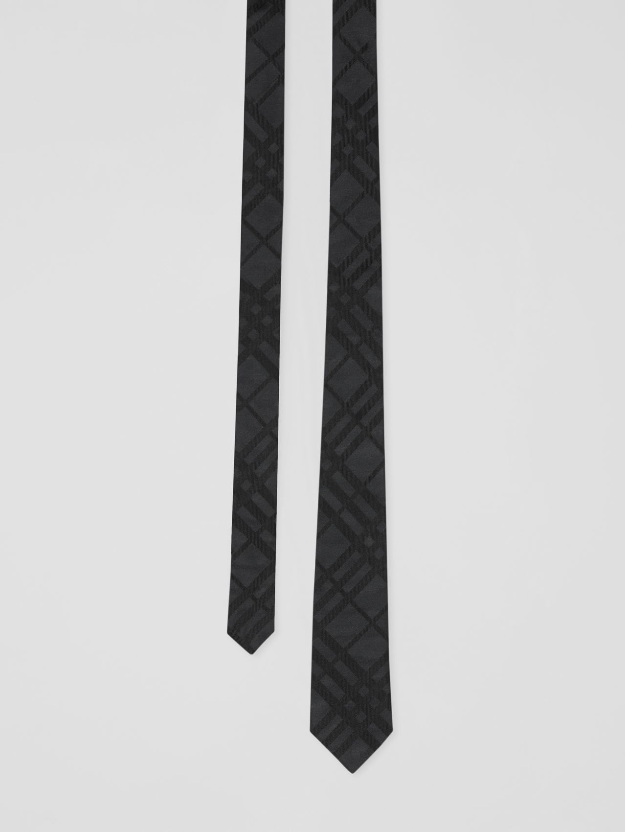 Classic Cut Check Silk Jacquard Tie in Black