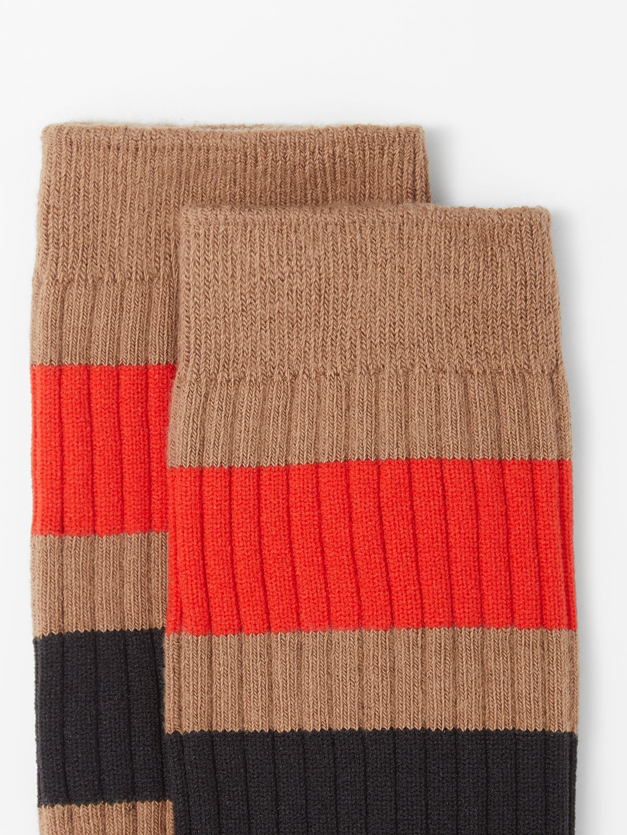 Striped Cotton Blend Socks in Warm Camel