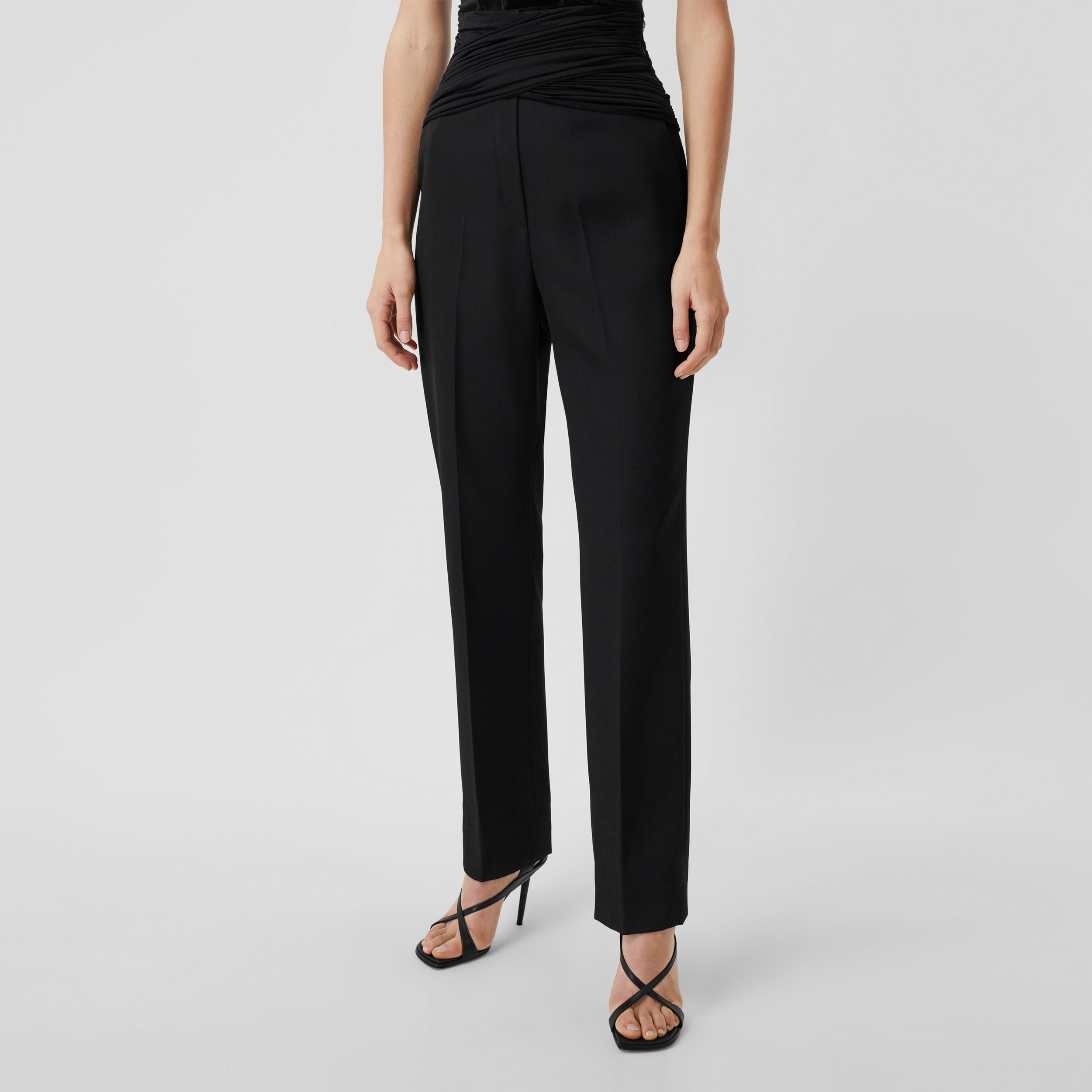 Jersey Sash Detail Wool Tailored Trousers in Black - Women | Burberry - 4