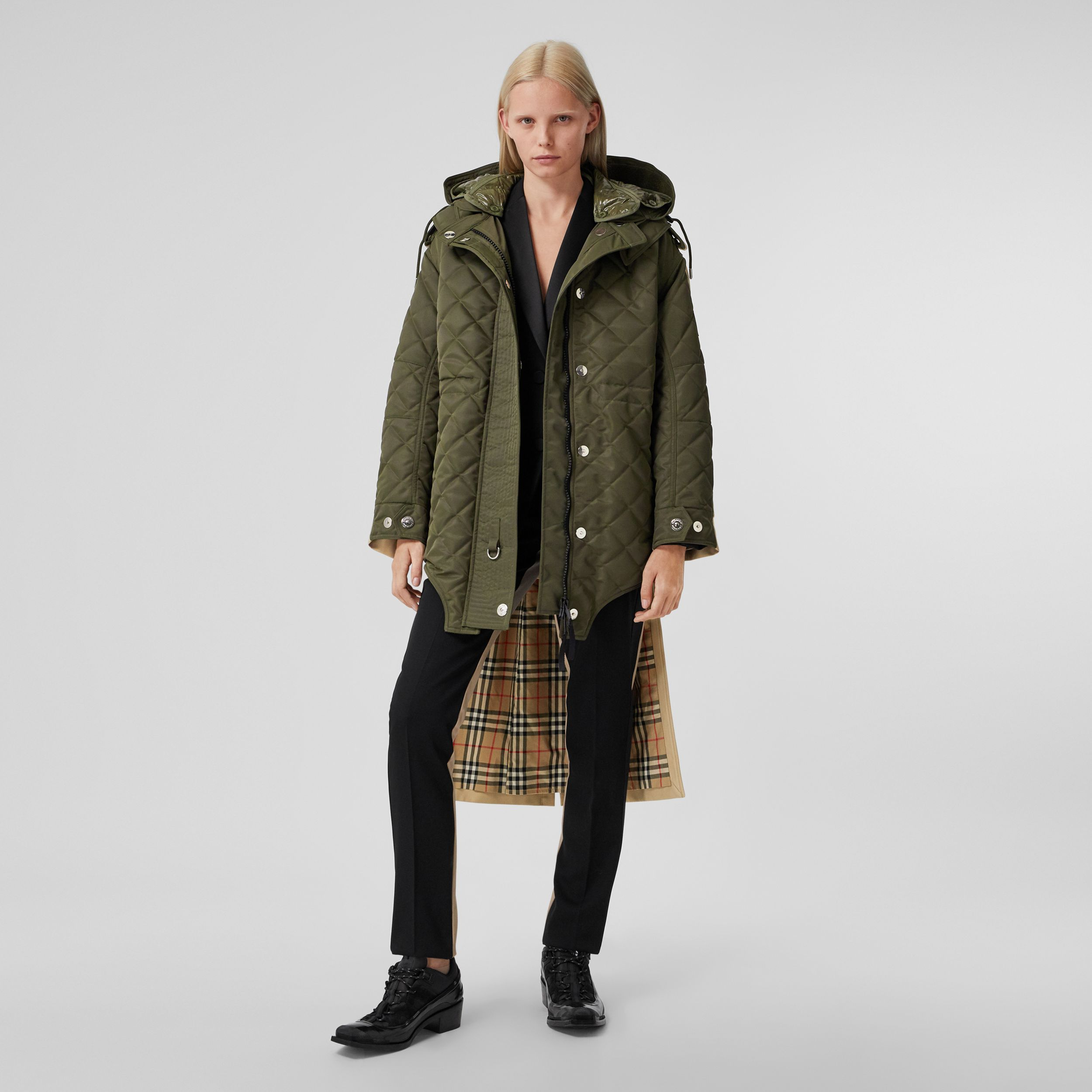 Detachable Hood Quilted Nylon and Cotton Parka in Olive Green | Burberry - 1