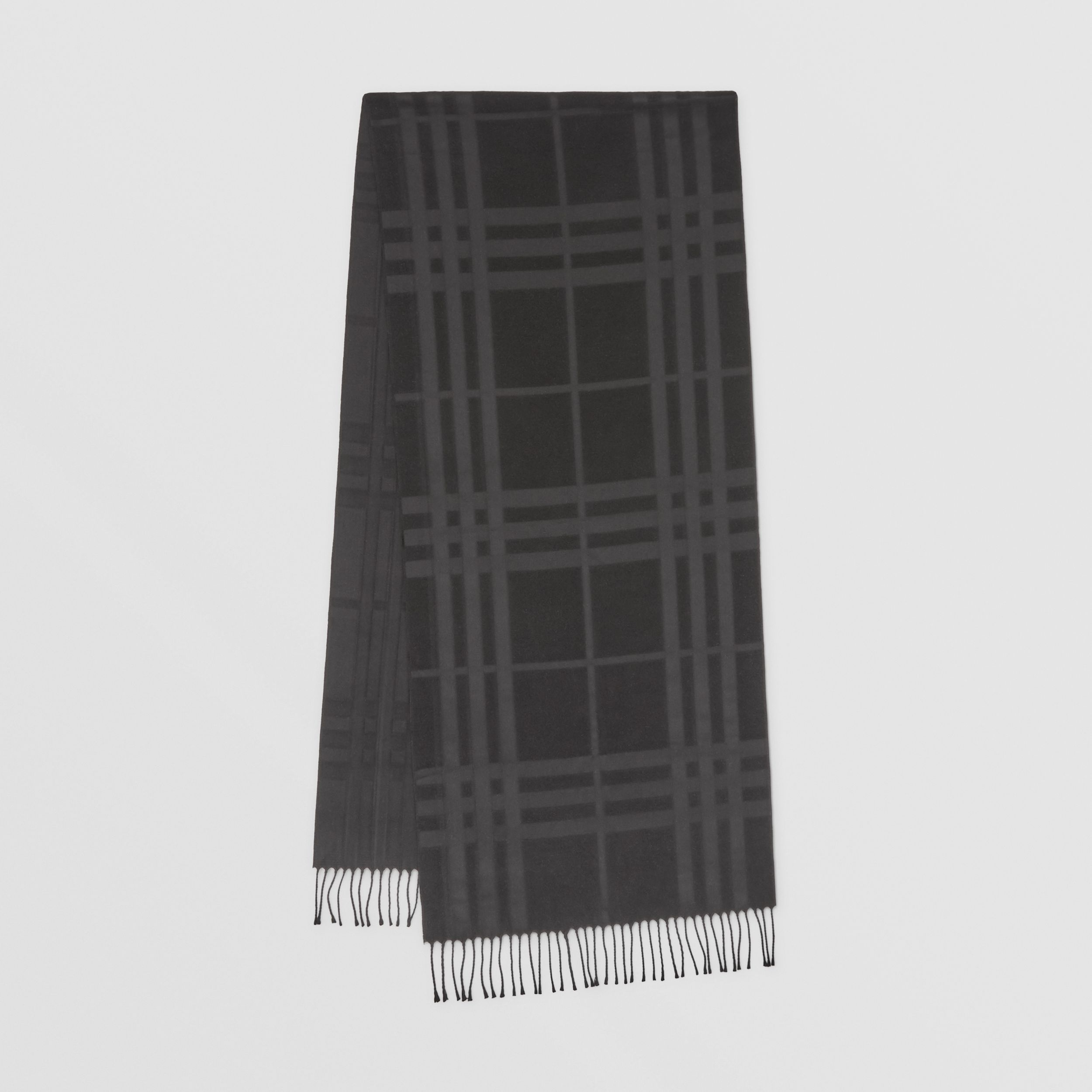 Check Silk Jacquard Scarf in Black | Burberry - 1