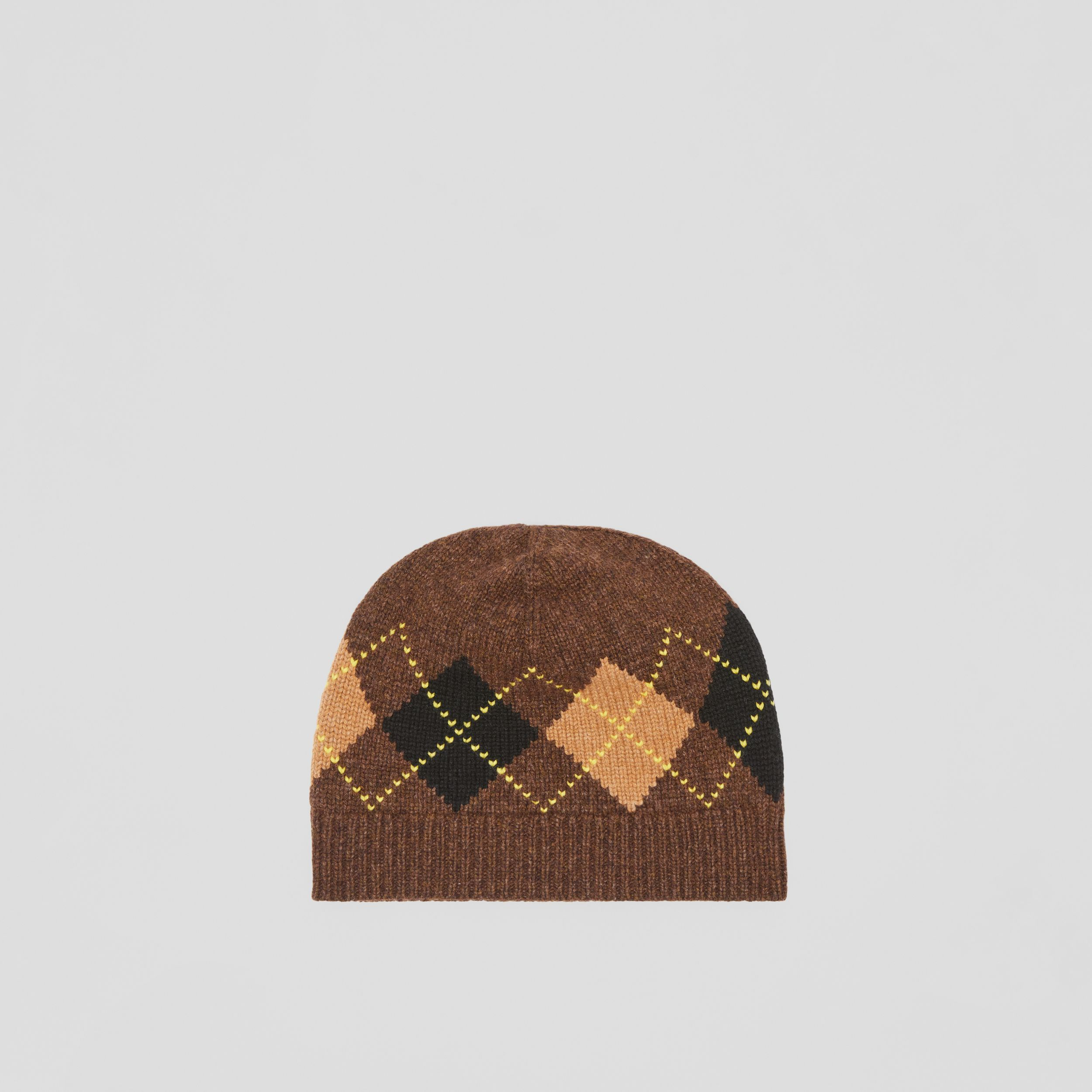 Argyle Intarsia Wool Cashmere Beanie in Brown | Burberry Hong Kong S.A.R. - 1