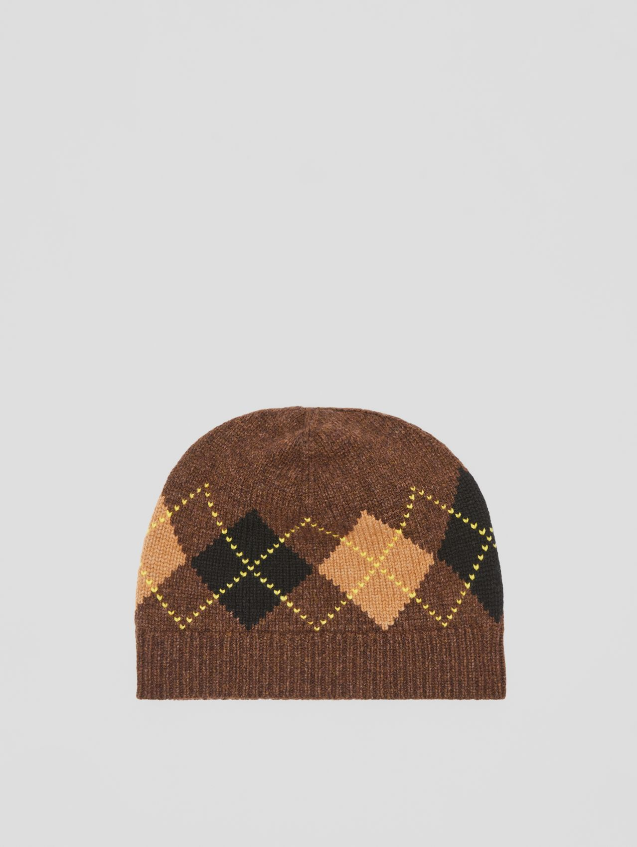 Argyle Intarsia Wool Cashmere Beanie in Brown