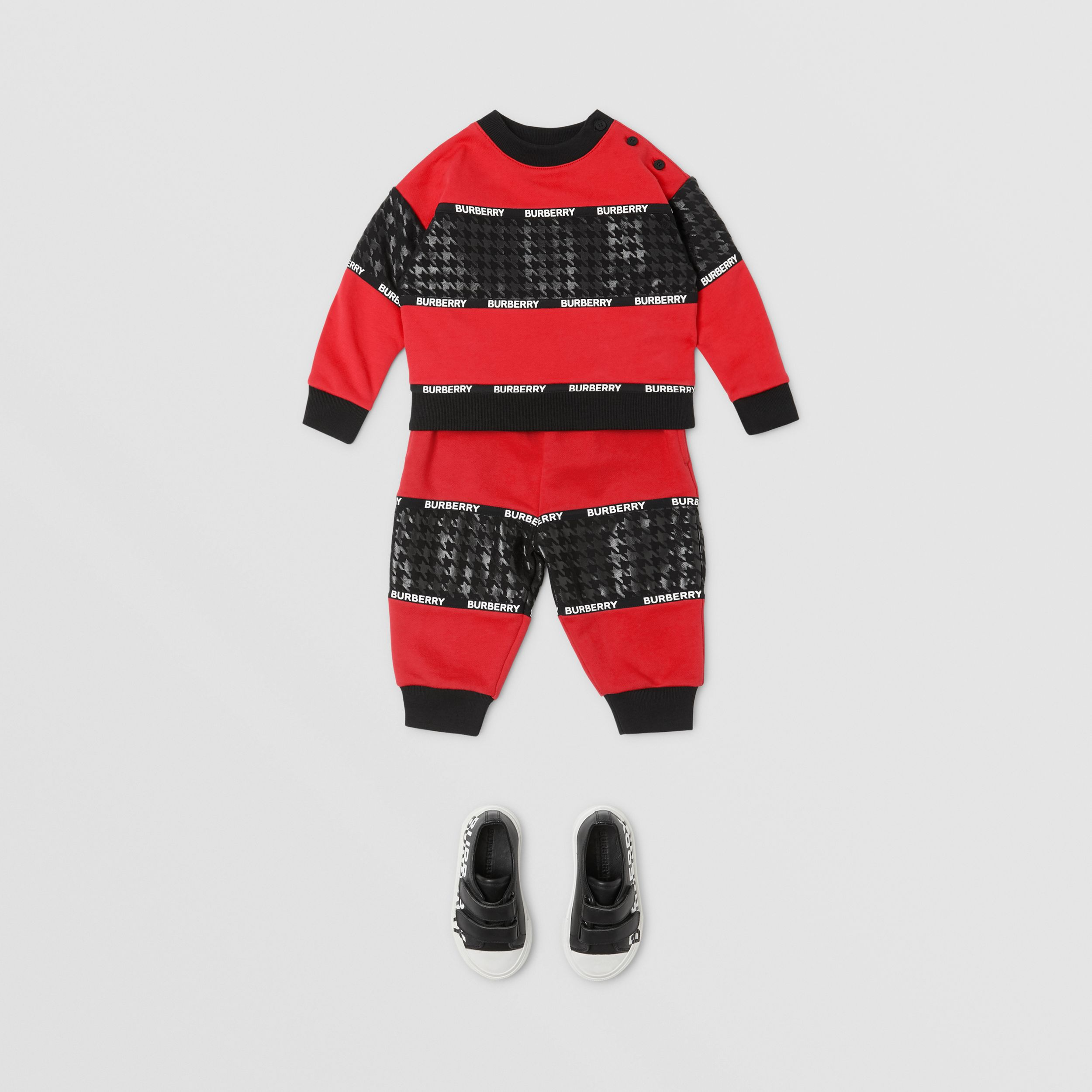 Houndstooth Check Panel Cotton Sweatshirt in Bright Red - Children | Burberry - 3
