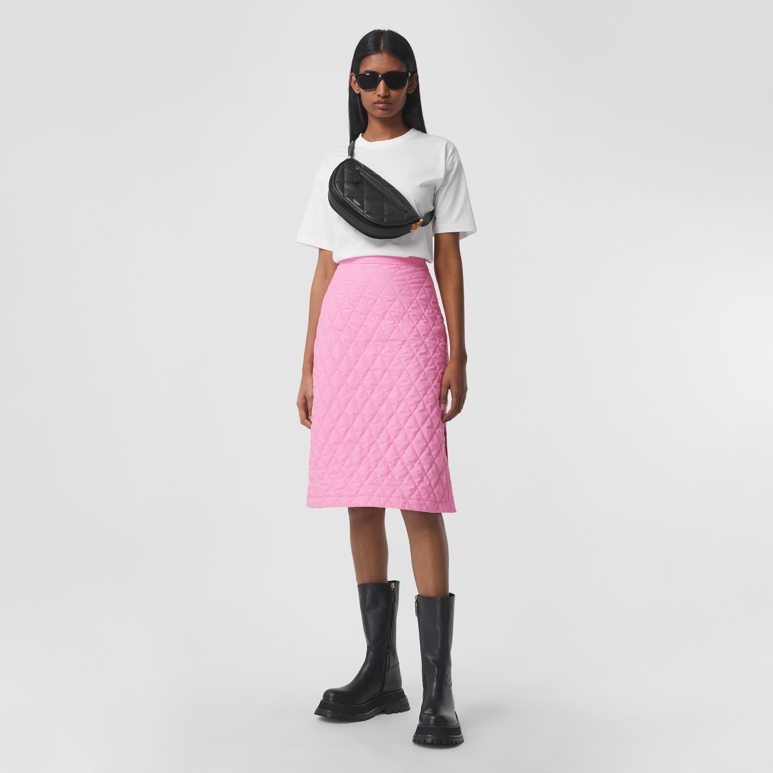 Diamond Quilted Skirt in Bubblegum Pink - Women | Burberry - 1
