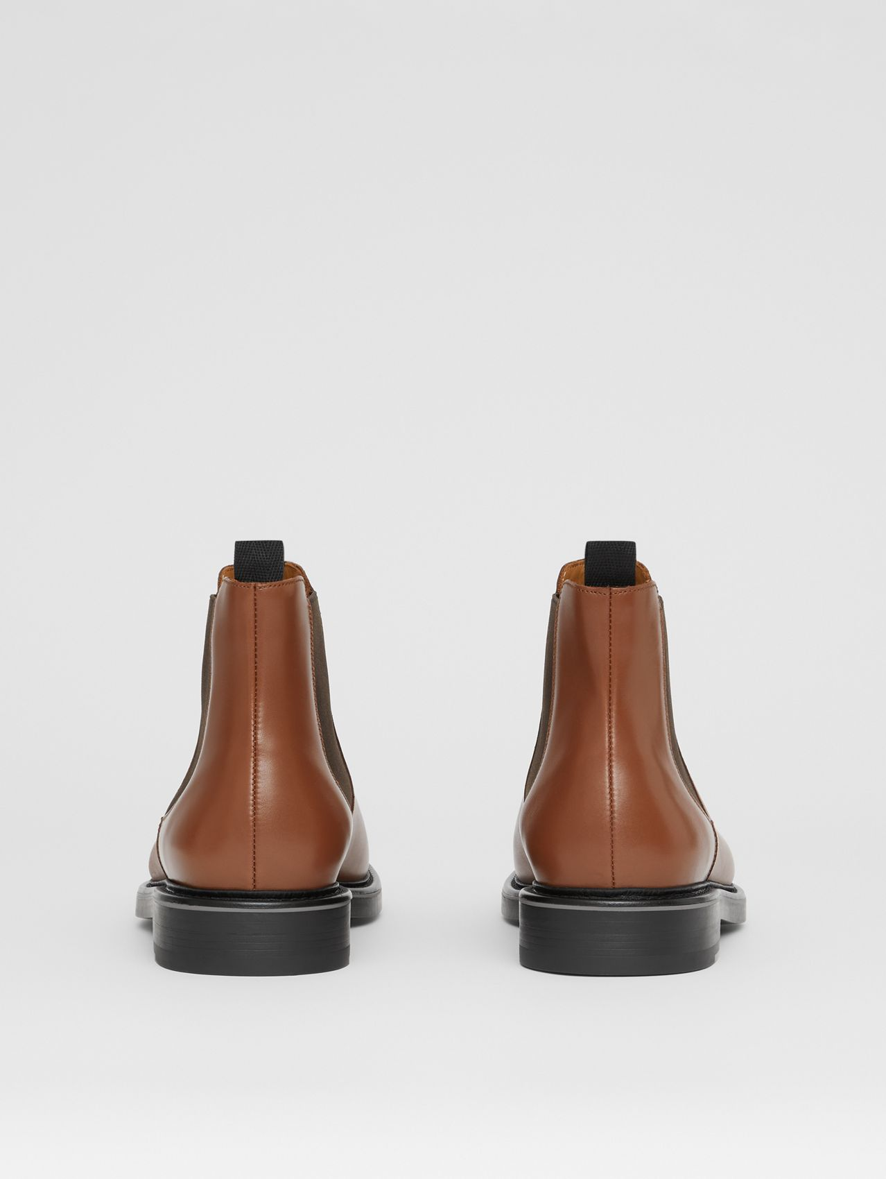 Logo Detail Leather Chelsea Boots in Tan