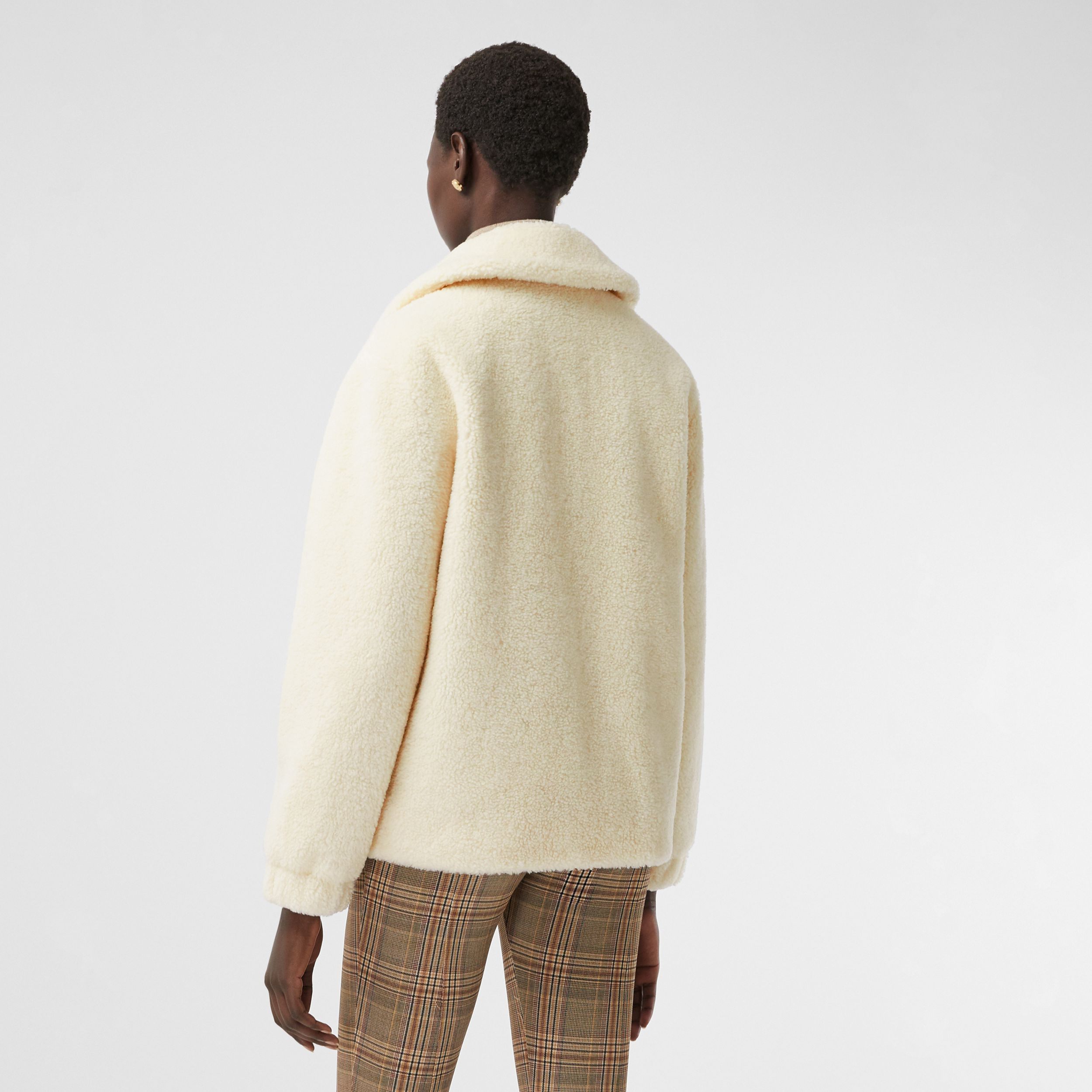 Monogram Motif Fleece Jacket in Ivory - Women | Burberry Hong Kong S.A.R. - 2