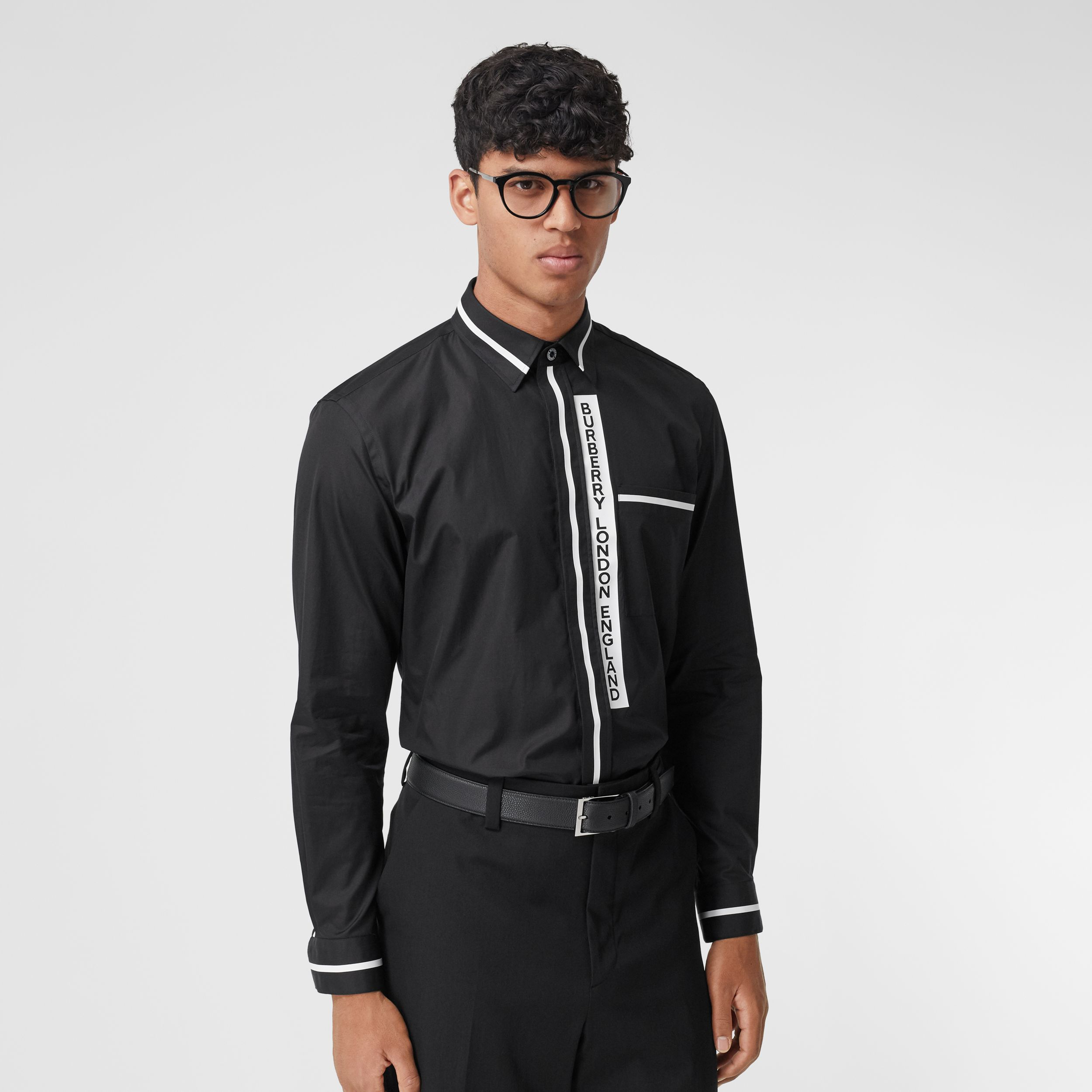 Logo Appliqué Cotton Poplin Shirt in Black - Men | Burberry - 1