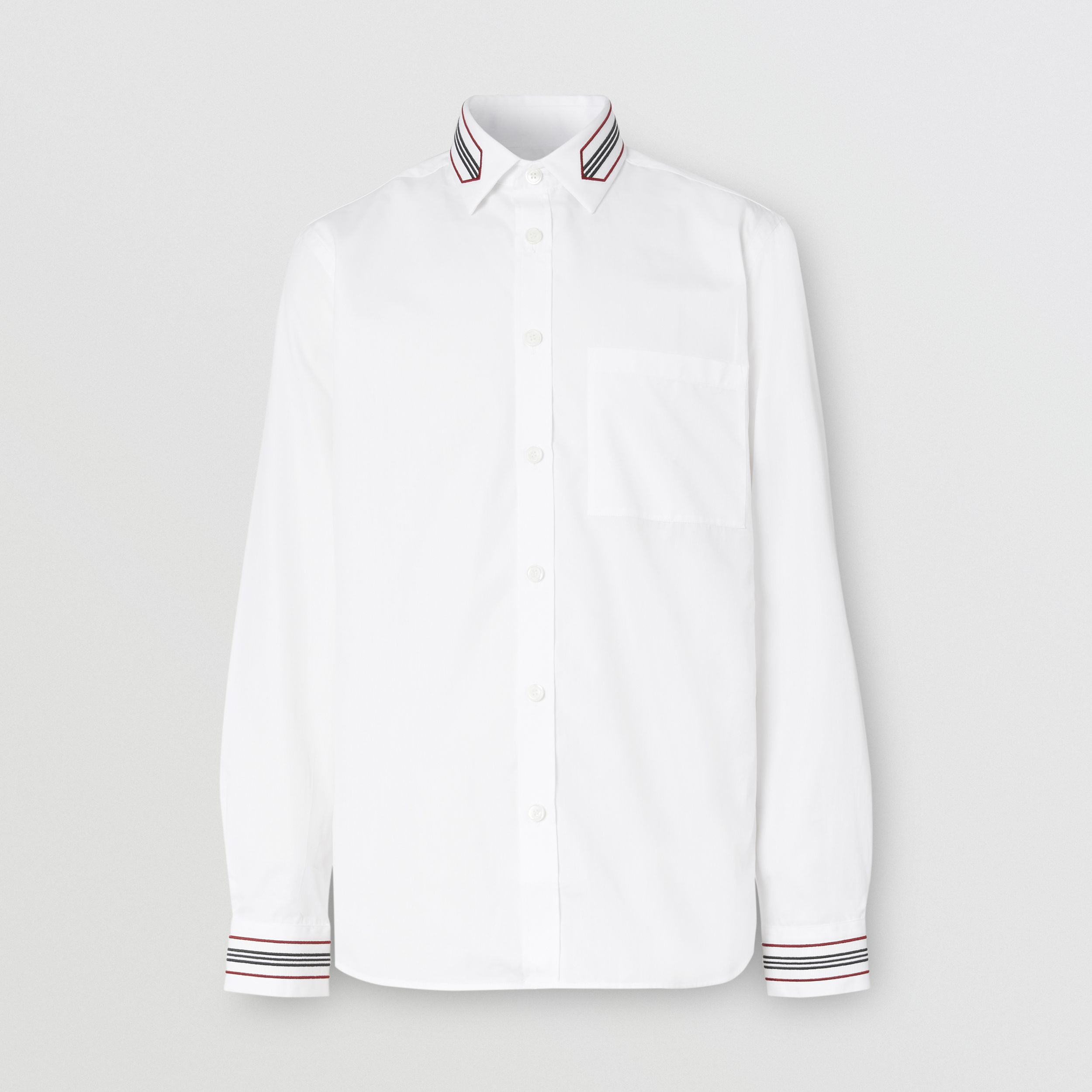 Slim Fit Icon Stripe Trim Cotton Poplin Shirt in Optic White - Men | Burberry - 4