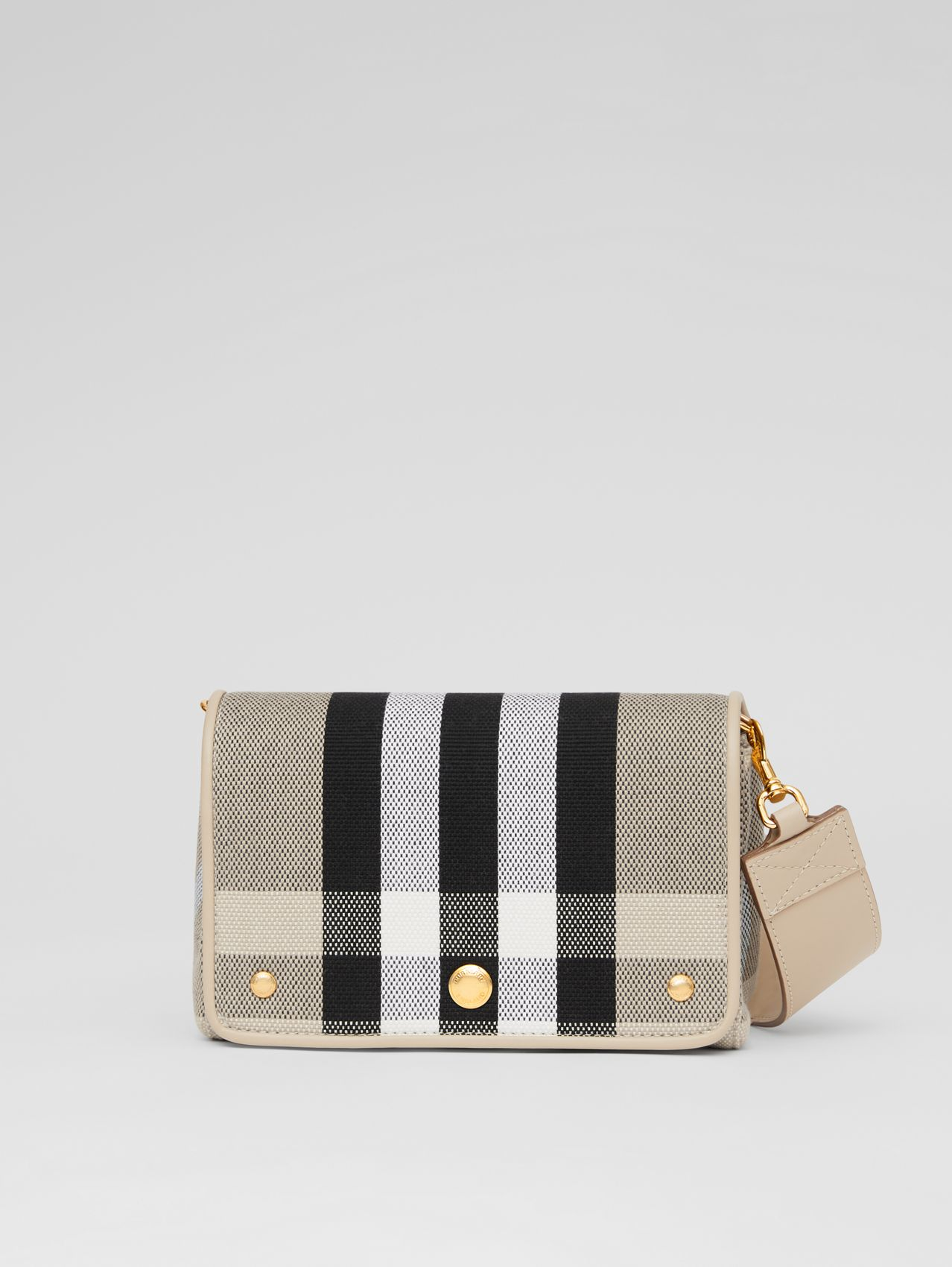 Small Check Canvas Crossbody Bag in Soft Fawn