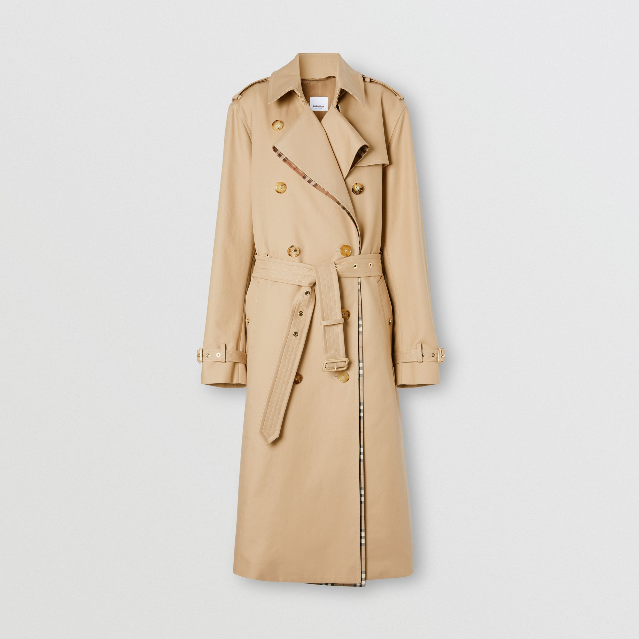 Check Panel Gabardine Loop-back Trench Coat in Dusty Sand - Women | Burberry Canada - 4