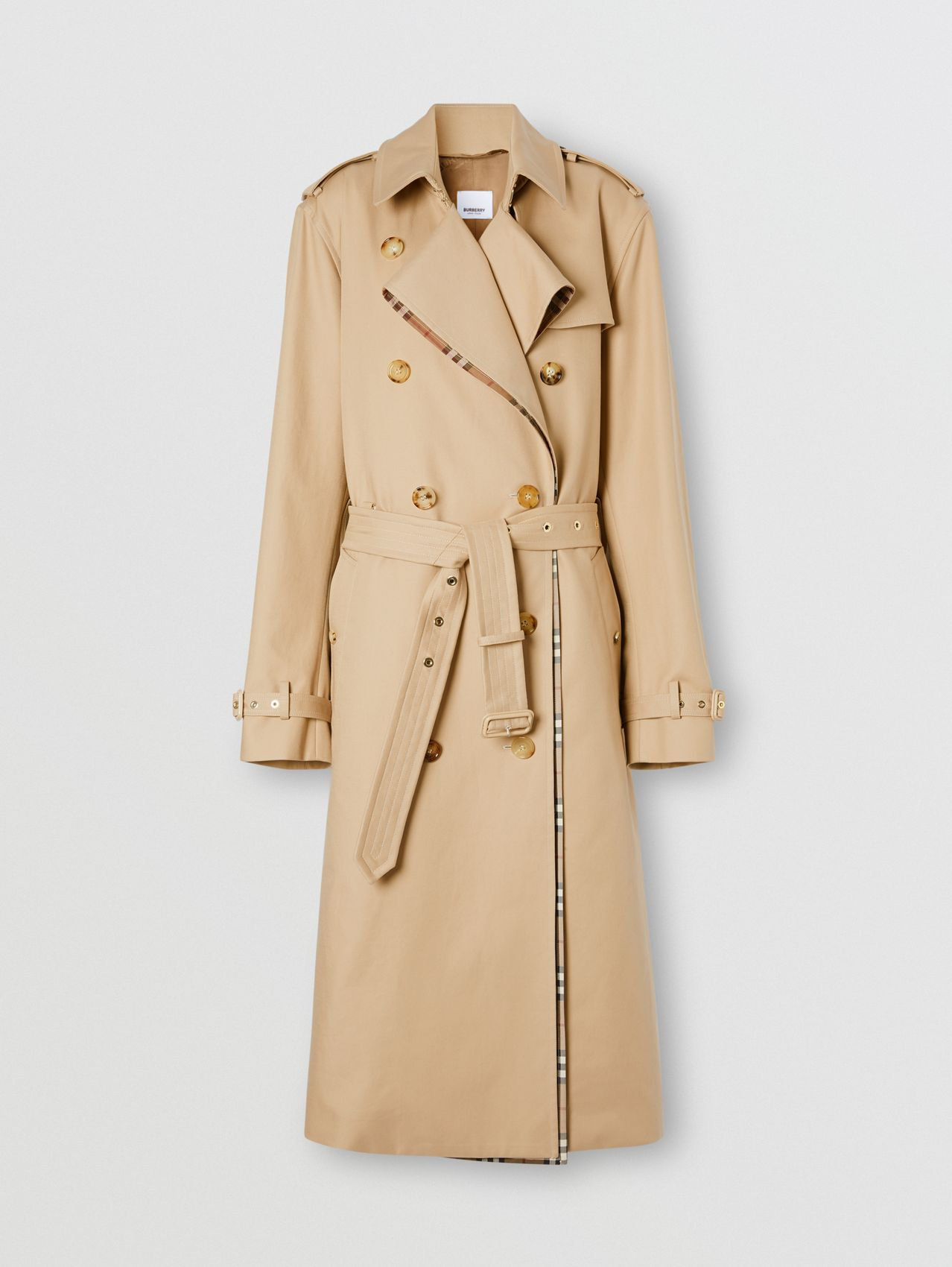 Check Panel Gabardine Loop-back Trench Coat in Dusty Sand