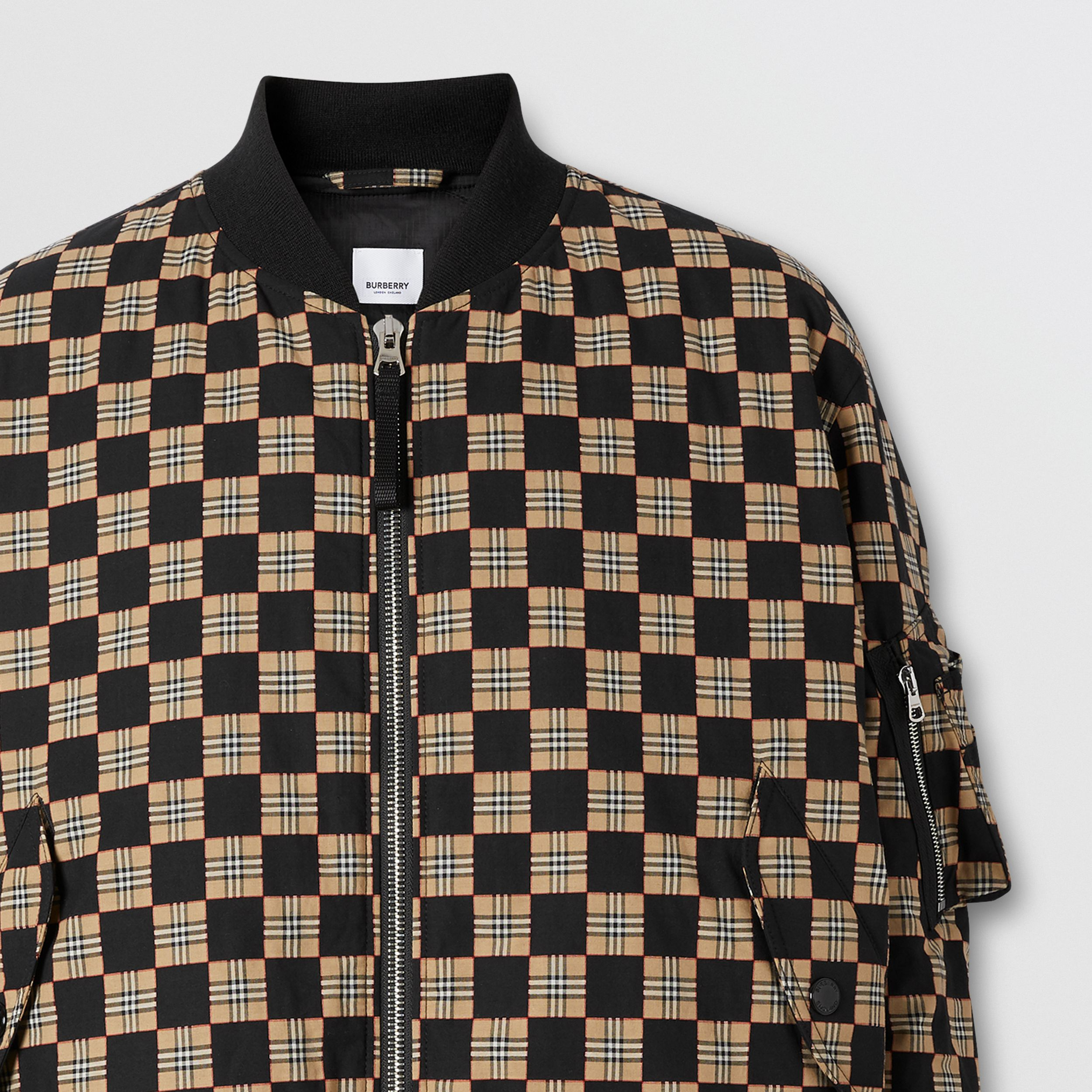 Chequer Cotton Bomber Jacket | Burberry - 3