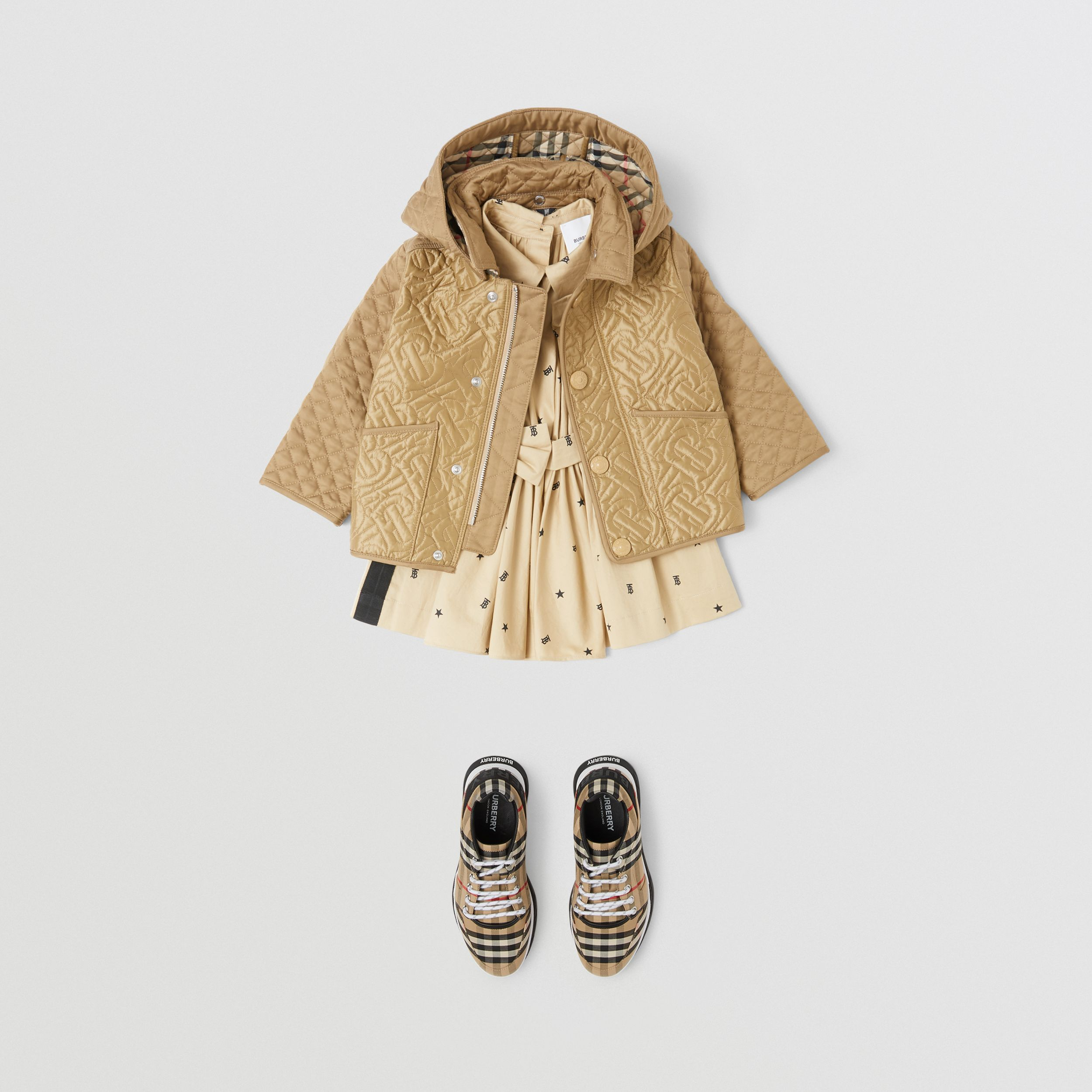 Detachable Hood Monogram Quilted Jacket in Honey - Children | Burberry - 2