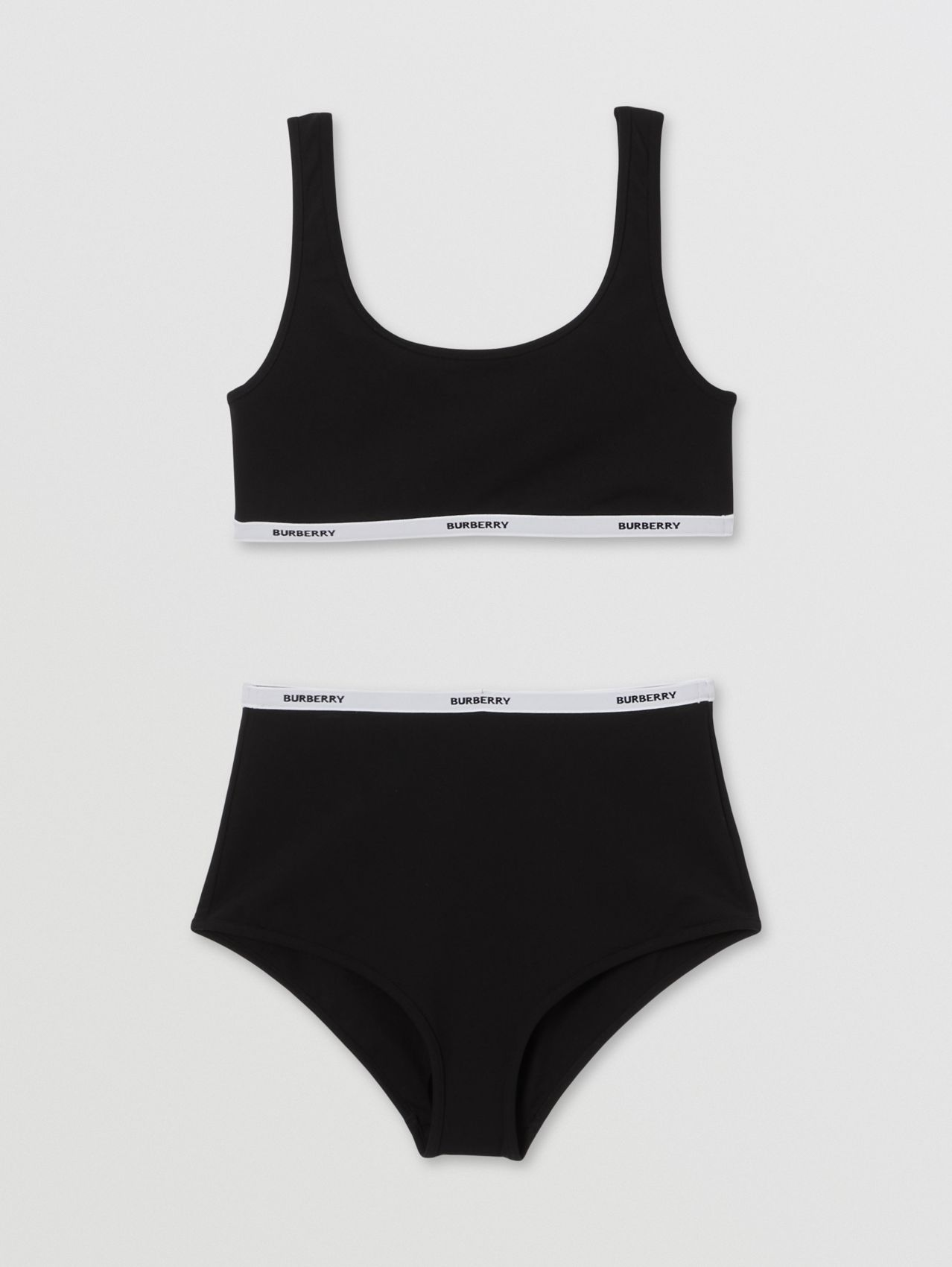 Logo Tape Bio-based Stretch Nylon Bikini in Black