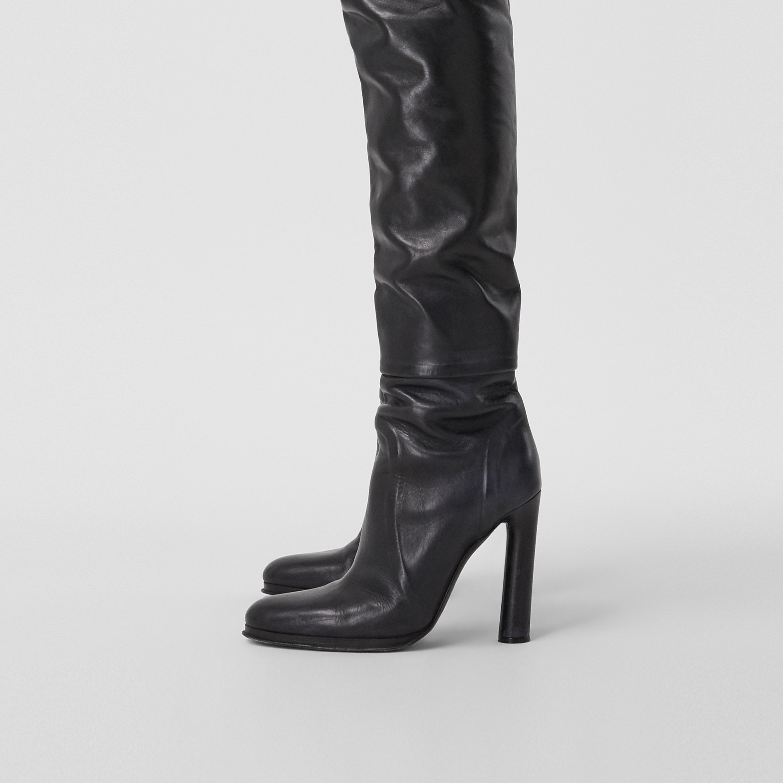 Porthole Detail Leather Wader Boots in Black - Women | Burberry - 2