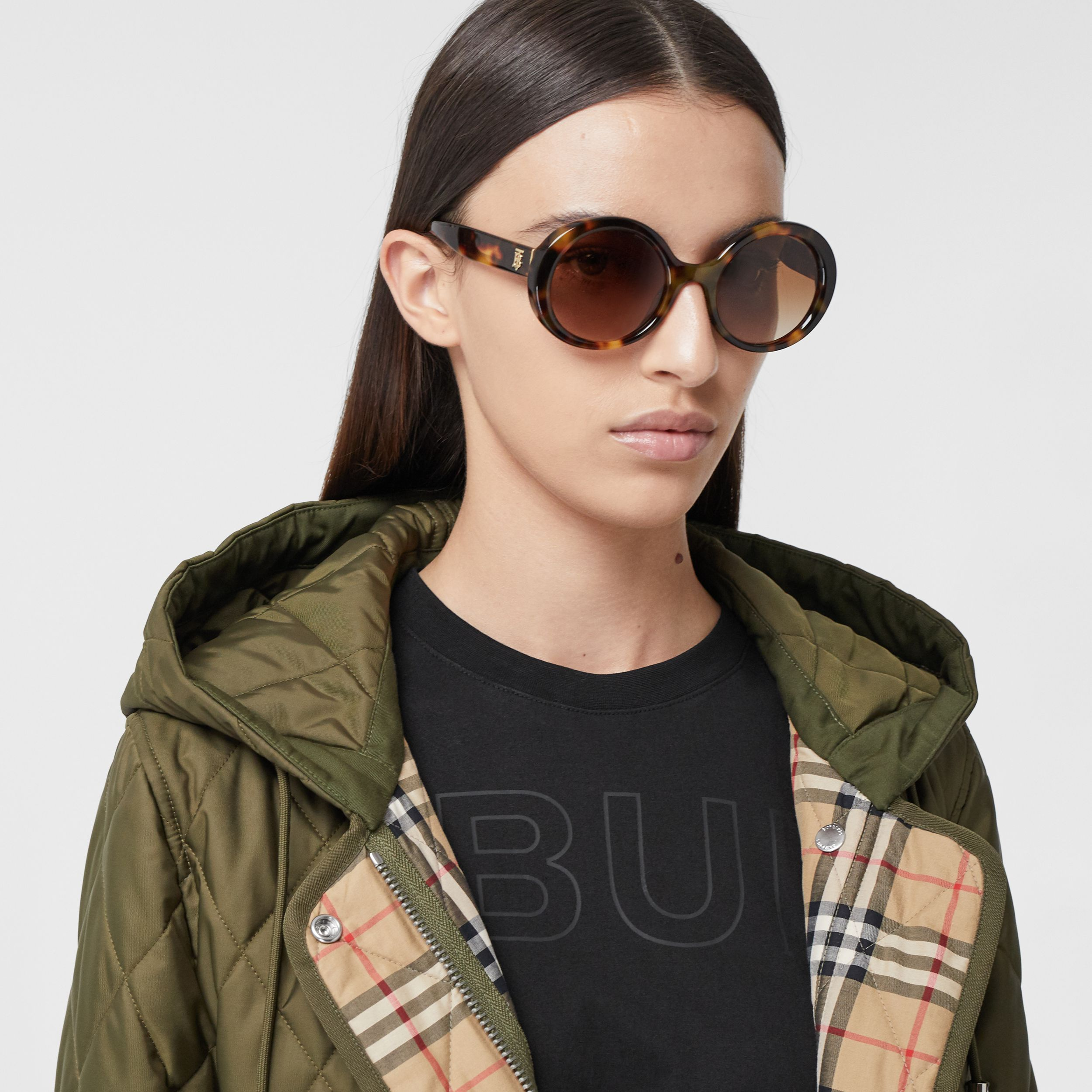 Oversized Round Frame Sunglasses in Dark Tortoise Amber - Women | Burberry - 3