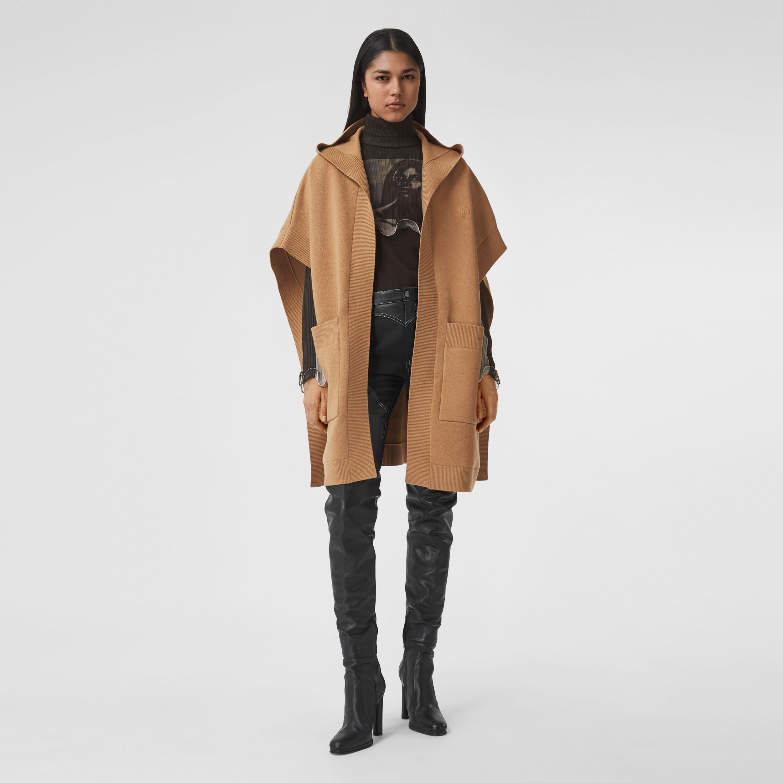 Monogram Motif Cashmere Blend Hooded Cape in Camel - Women | Burberry - 1