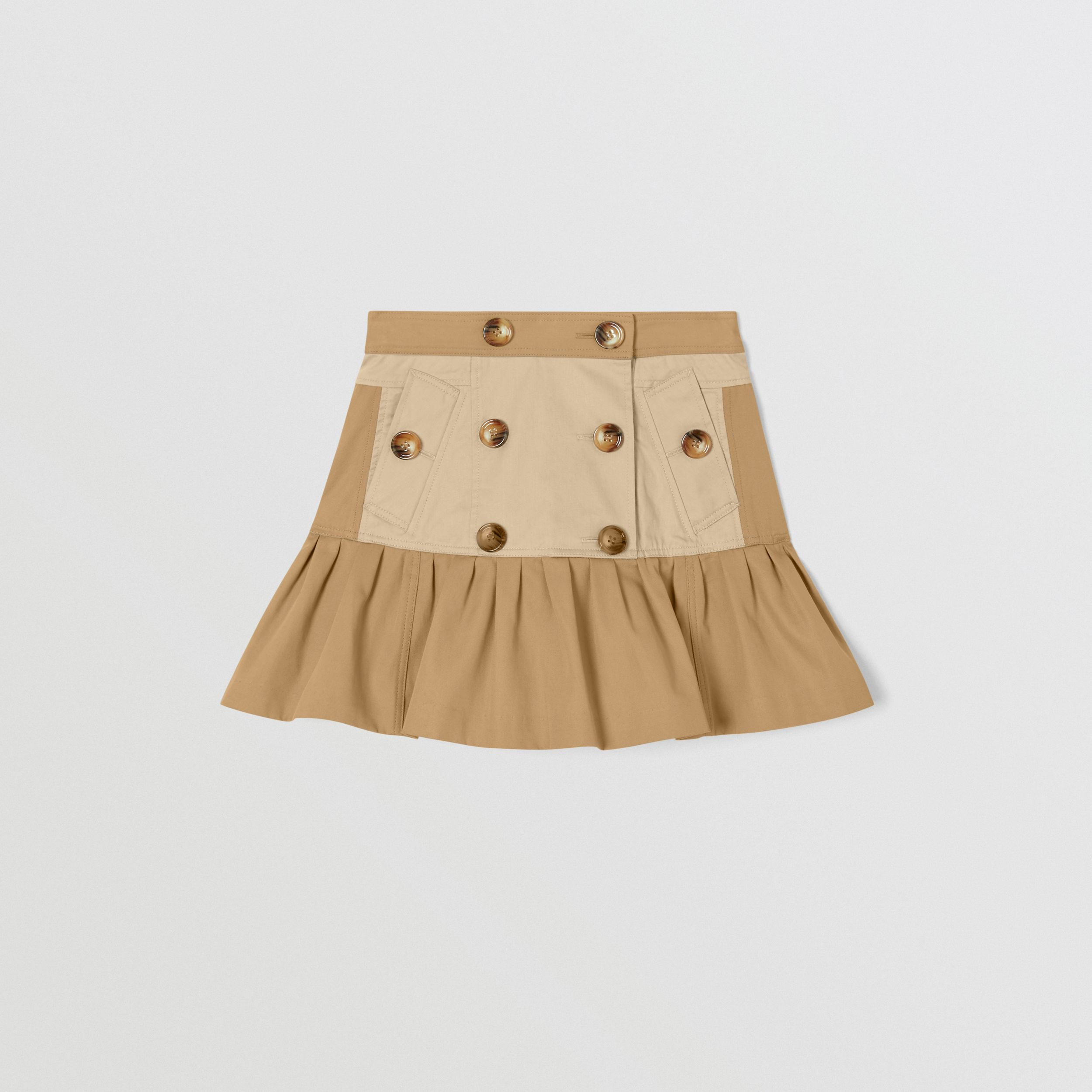 Gathered Cotton Twill Trench Skirt in Honey | Burberry - 1