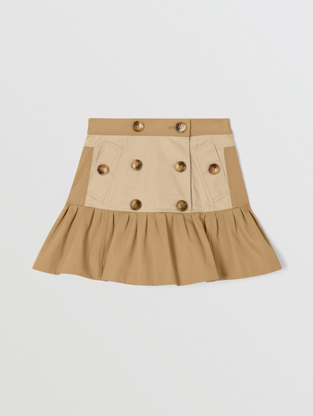 Gathered Cotton Twill Trench Skirt (Honey)