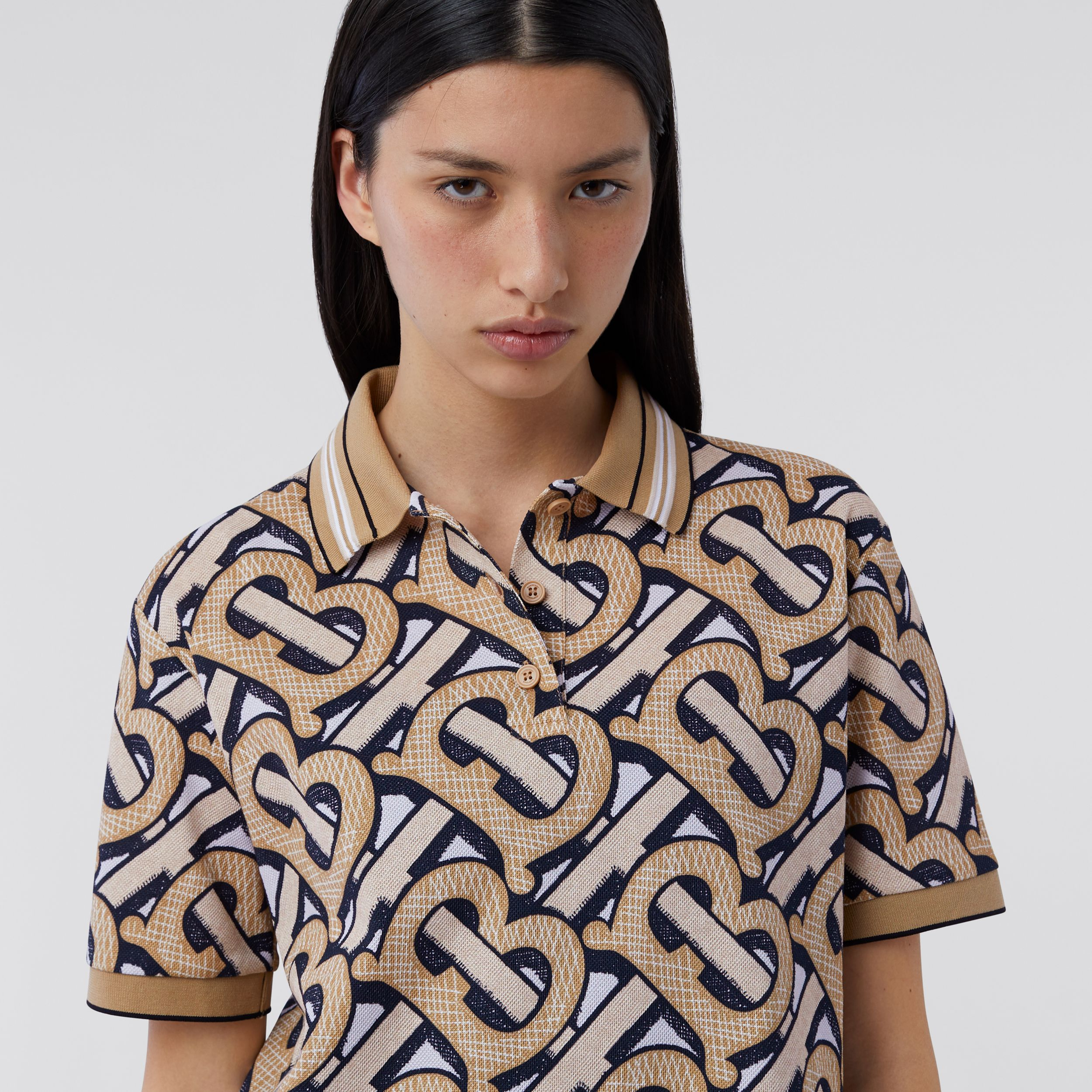 Monogram Print Cotton Piqué Polo Shirt – Unisex in Dark Beige | Burberry - 2