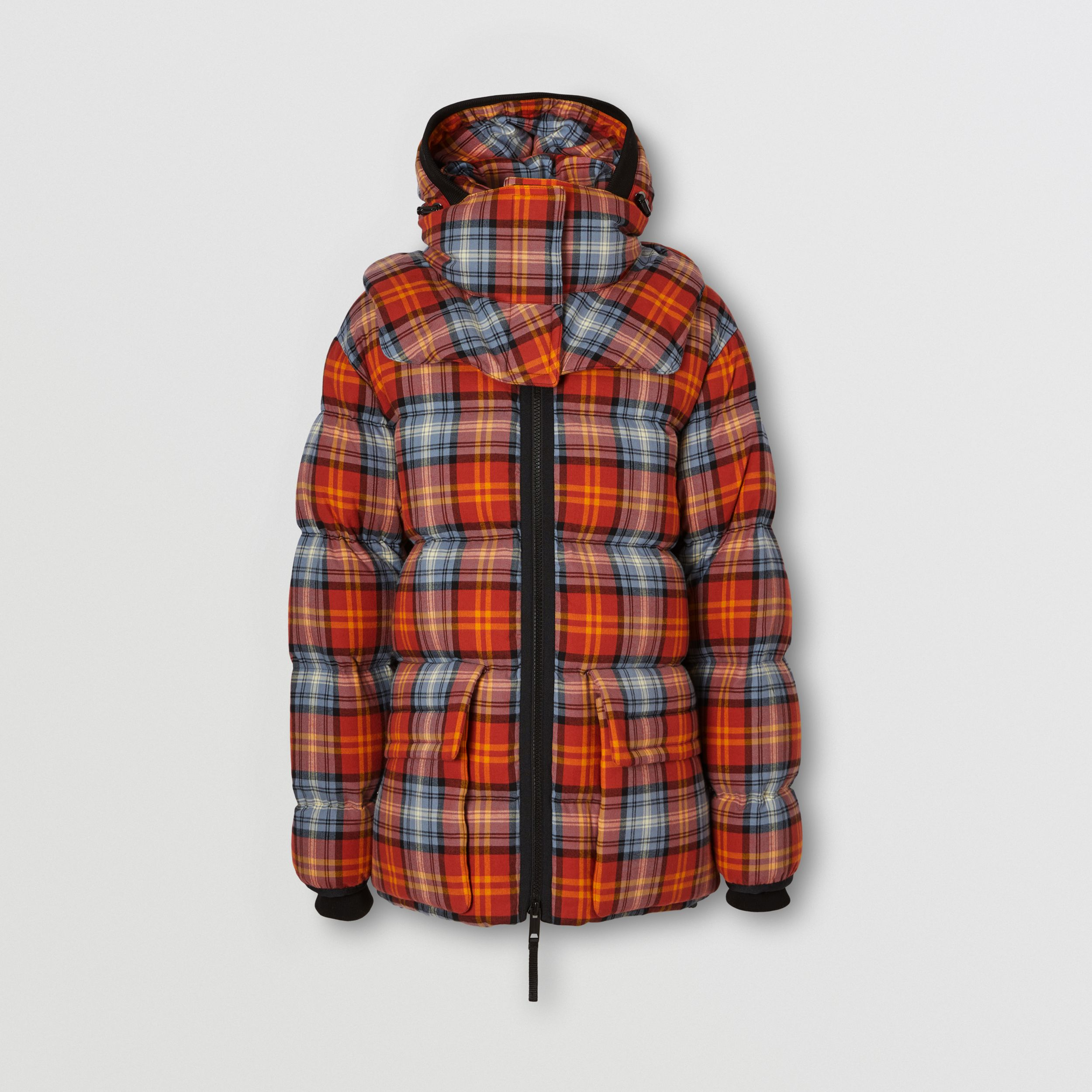 Detachable Hood Check Cotton Flannel Puffer Jacket in Multicolour | Burberry Australia - 4