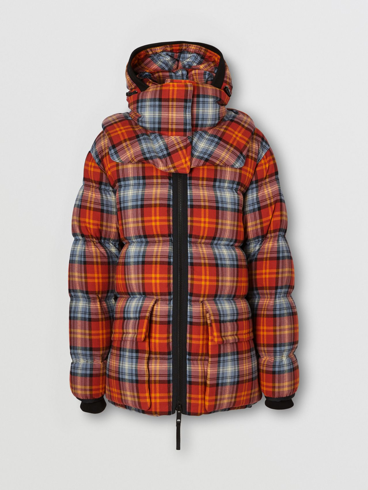 Detachable Hood Check Cotton Flannel Puffer Jacket in Multicolour