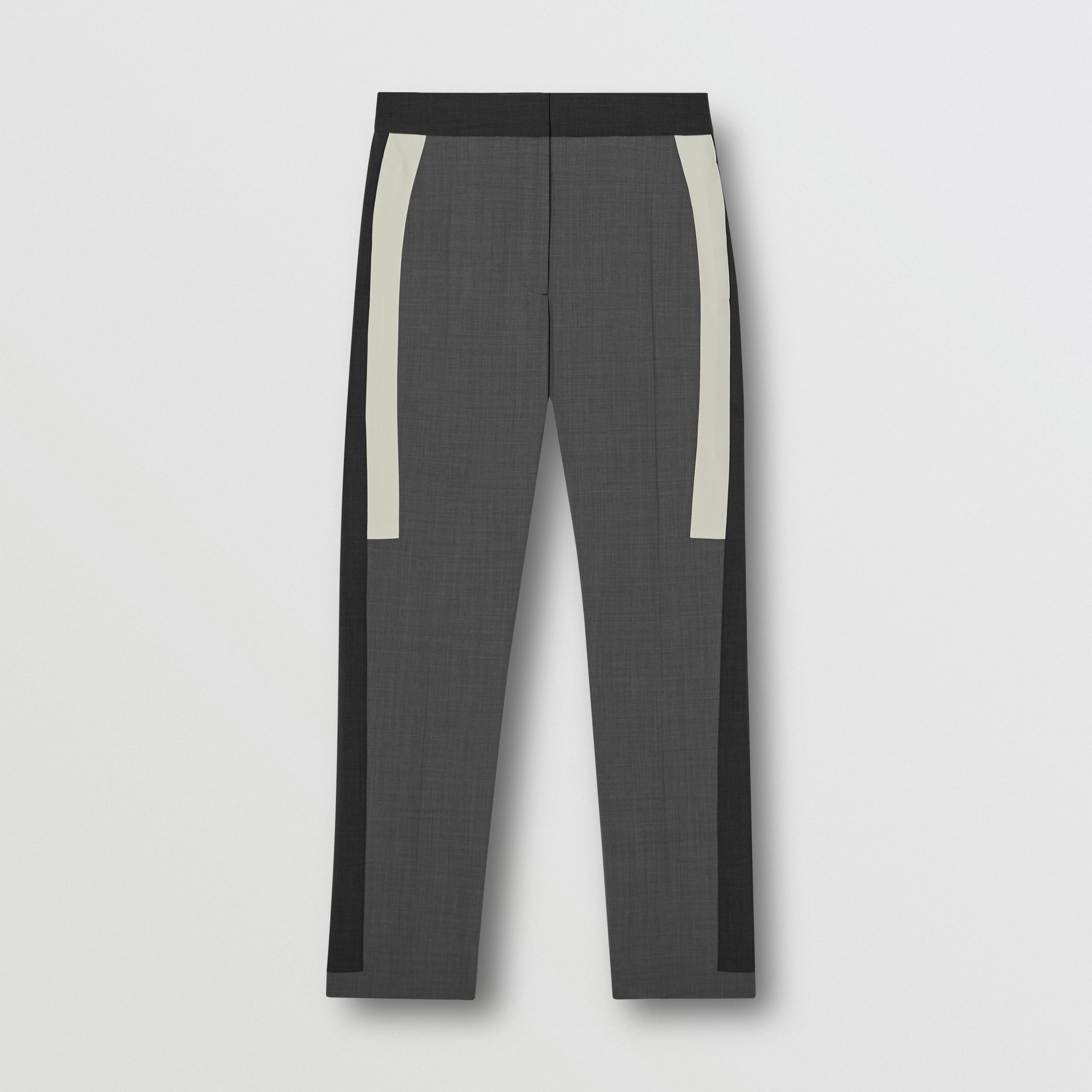 Contrast Stripe Stretch Wool Tailored Trousers in Grey - Women | Burberry - 1